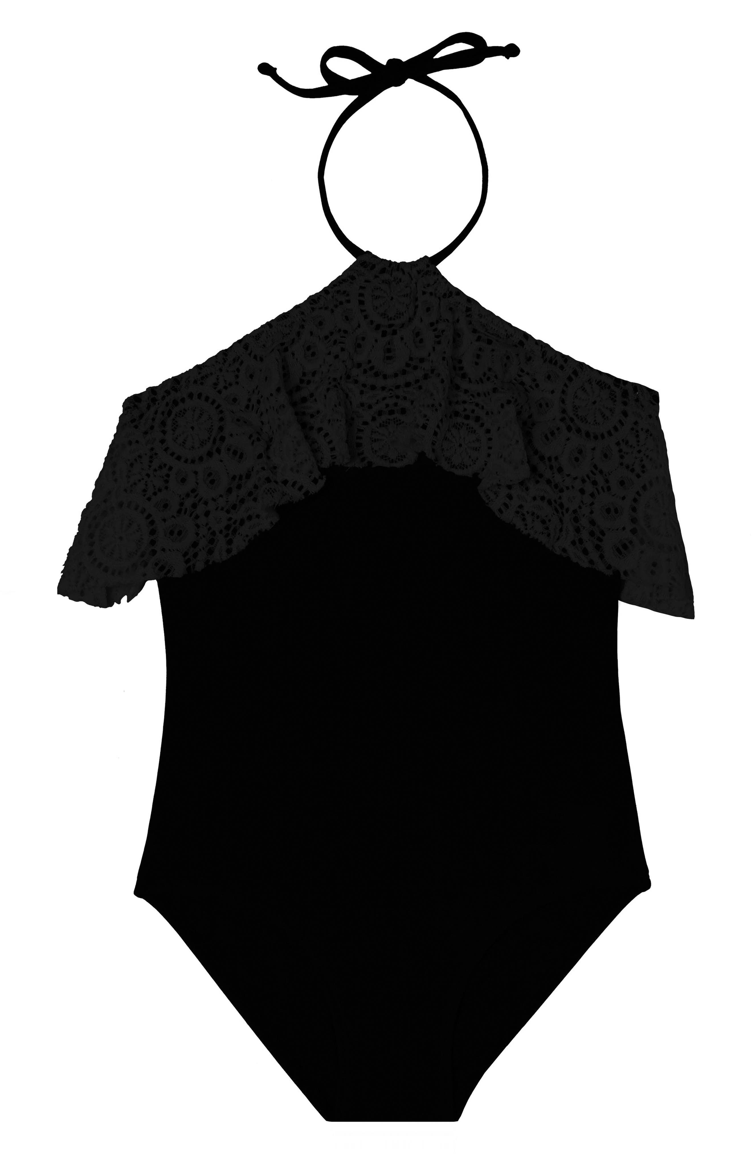 Festival Fantasy One-Piece Swimsuit,                         Main,                         color, BLACK