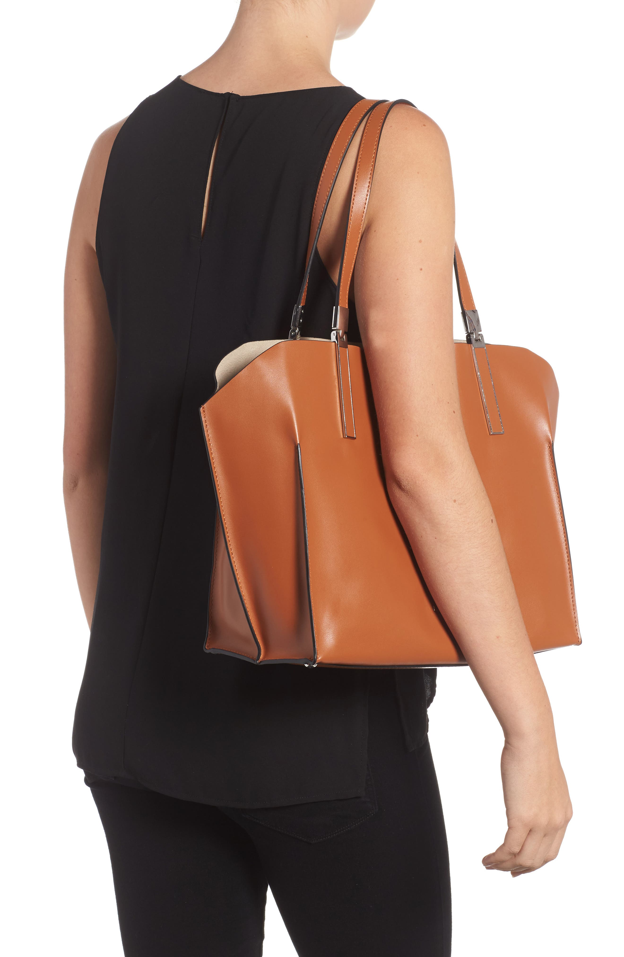 LODIS Silicon Valley Collection Under Lock & Key - Anita RFID East/West Leather Satchel,                             Alternate thumbnail 5, color,