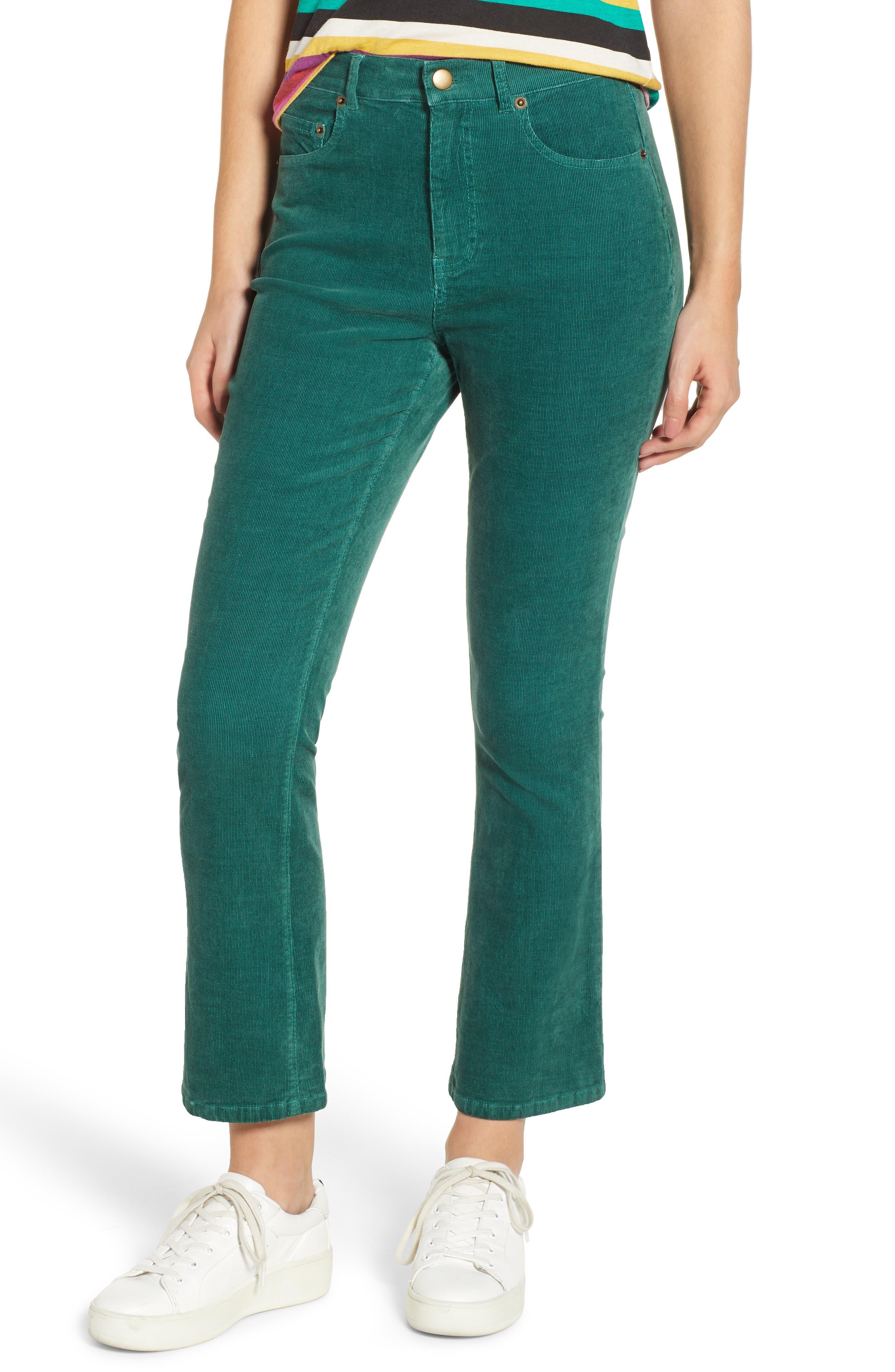 Crop Flare Pants,                         Main,                         color, EMERALD