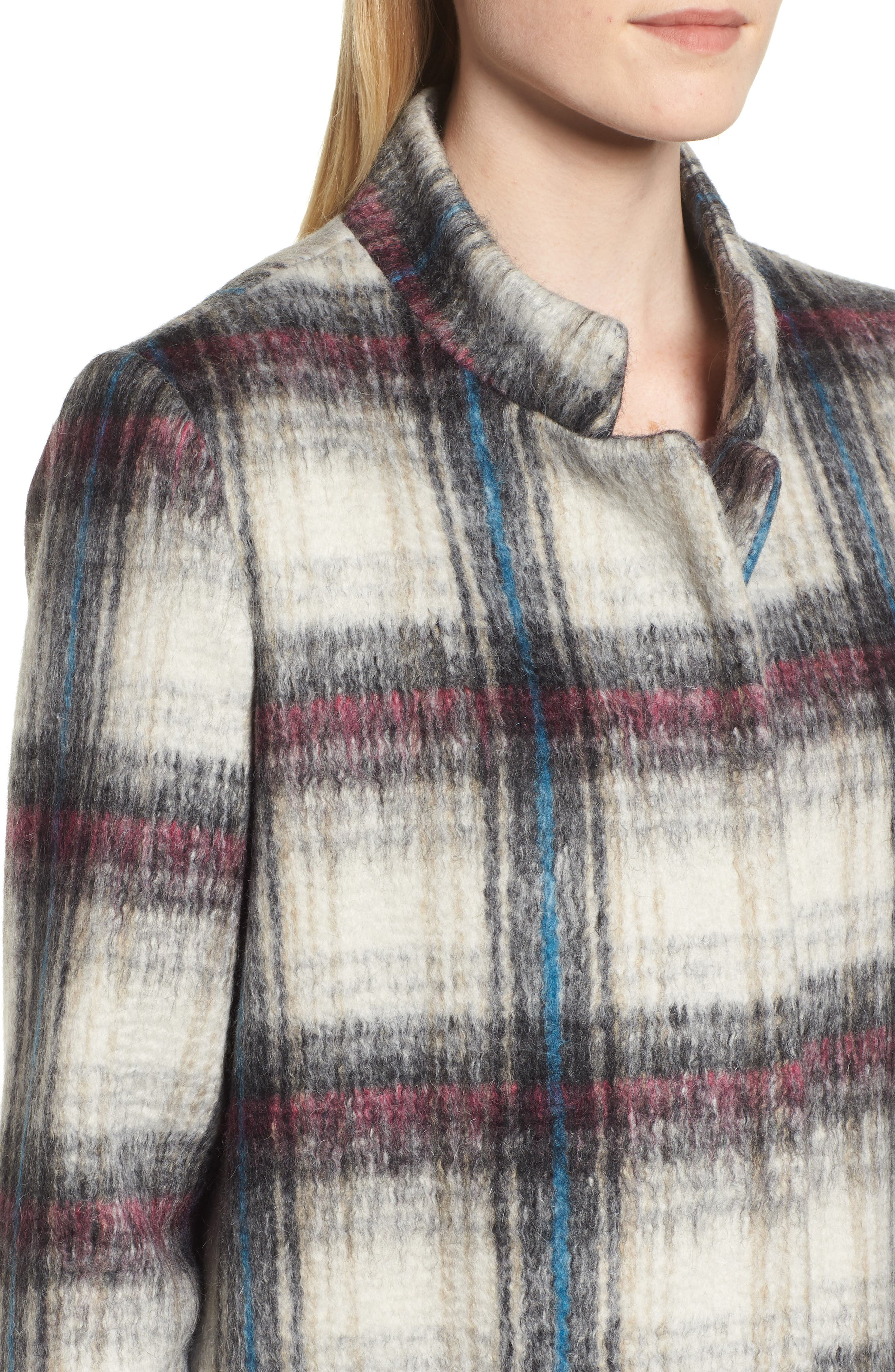 Drop Shoulder Plaid Wool Blend Coat,                             Alternate thumbnail 4, color,                             250