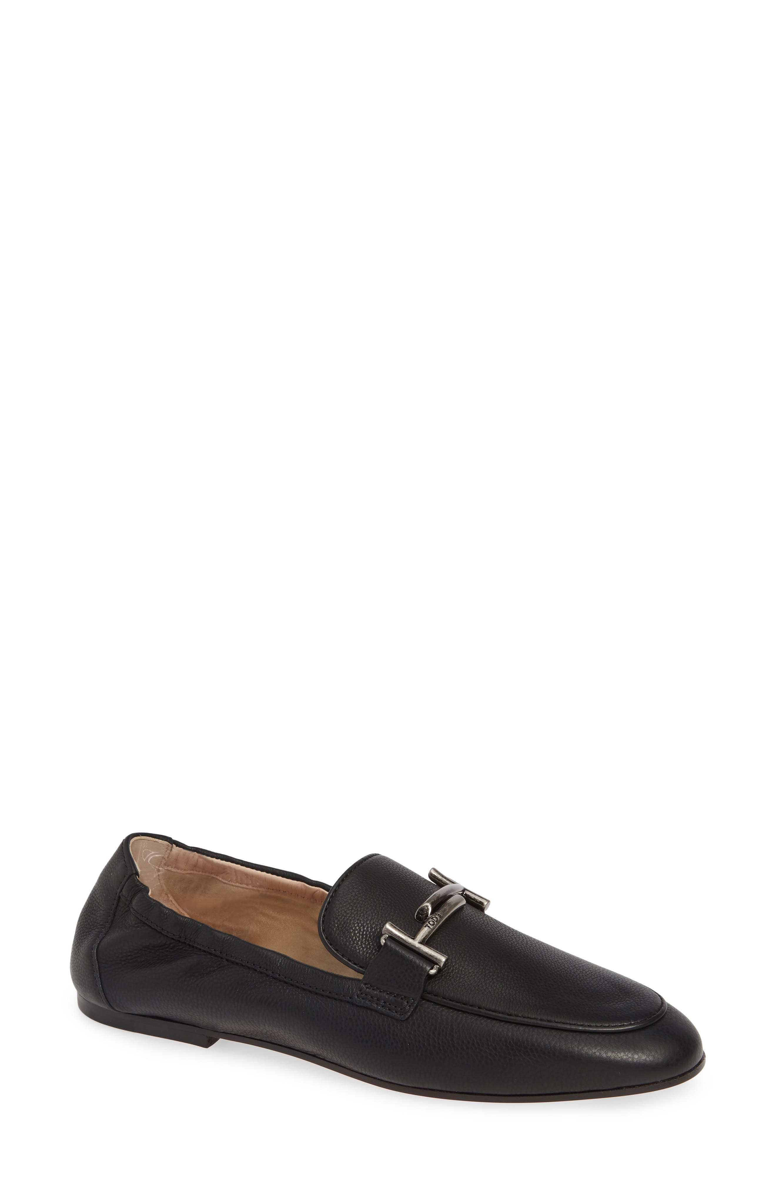 Double T Loafer,                             Main thumbnail 1, color,                             BLACK LEATHER