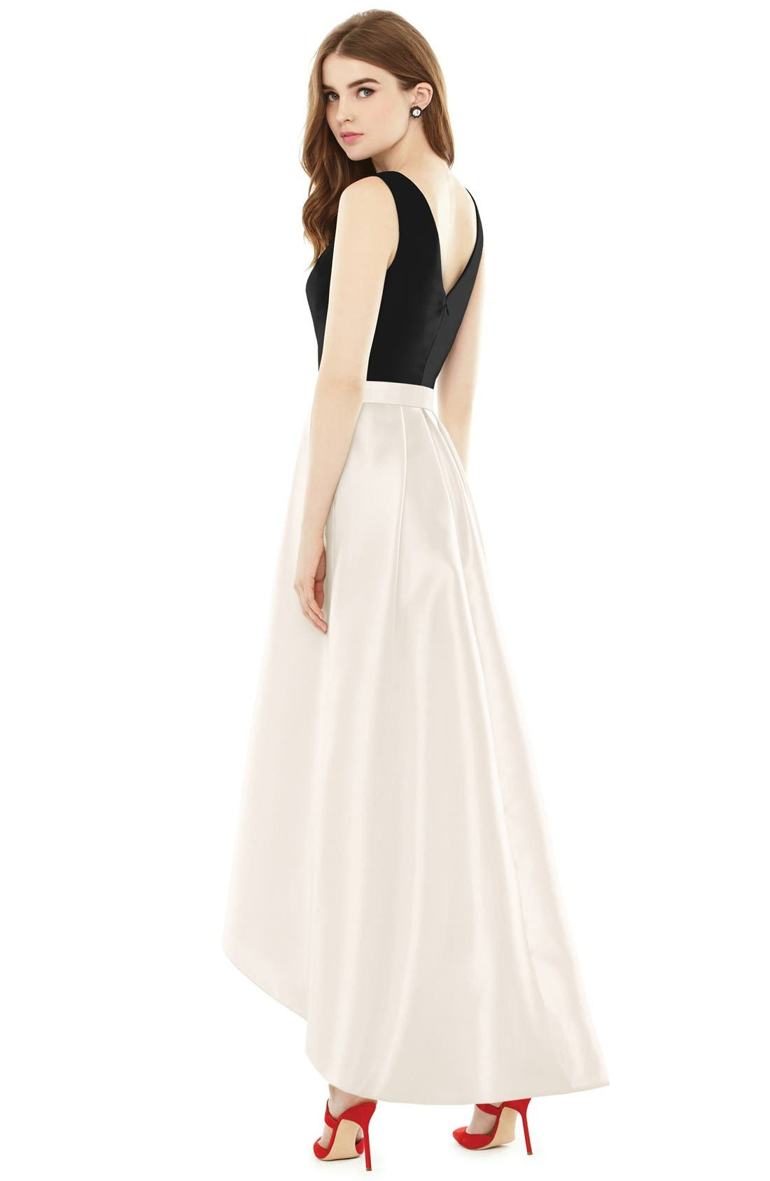 High/Low V-Neck Sateen A-Line Gown,                             Alternate thumbnail 2, color,                             101