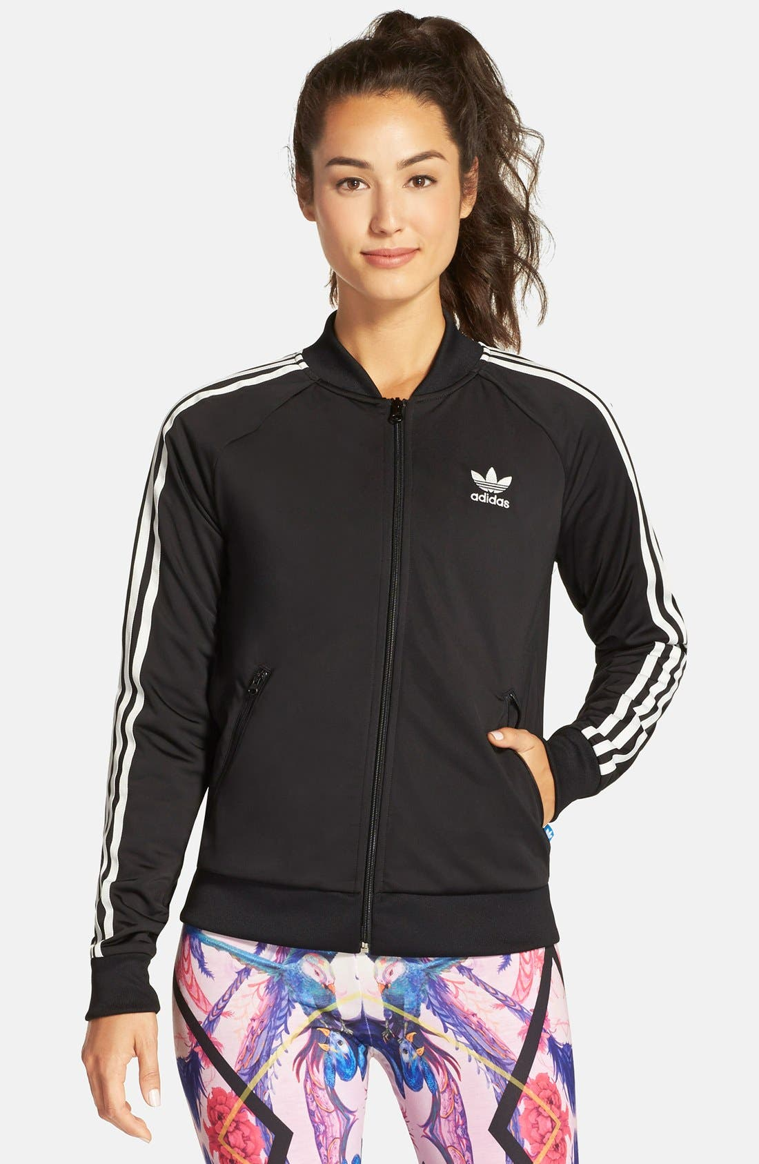 Originals 'Superstar' 3-Stripes Track Jacket,                             Alternate thumbnail 3, color,                             001
