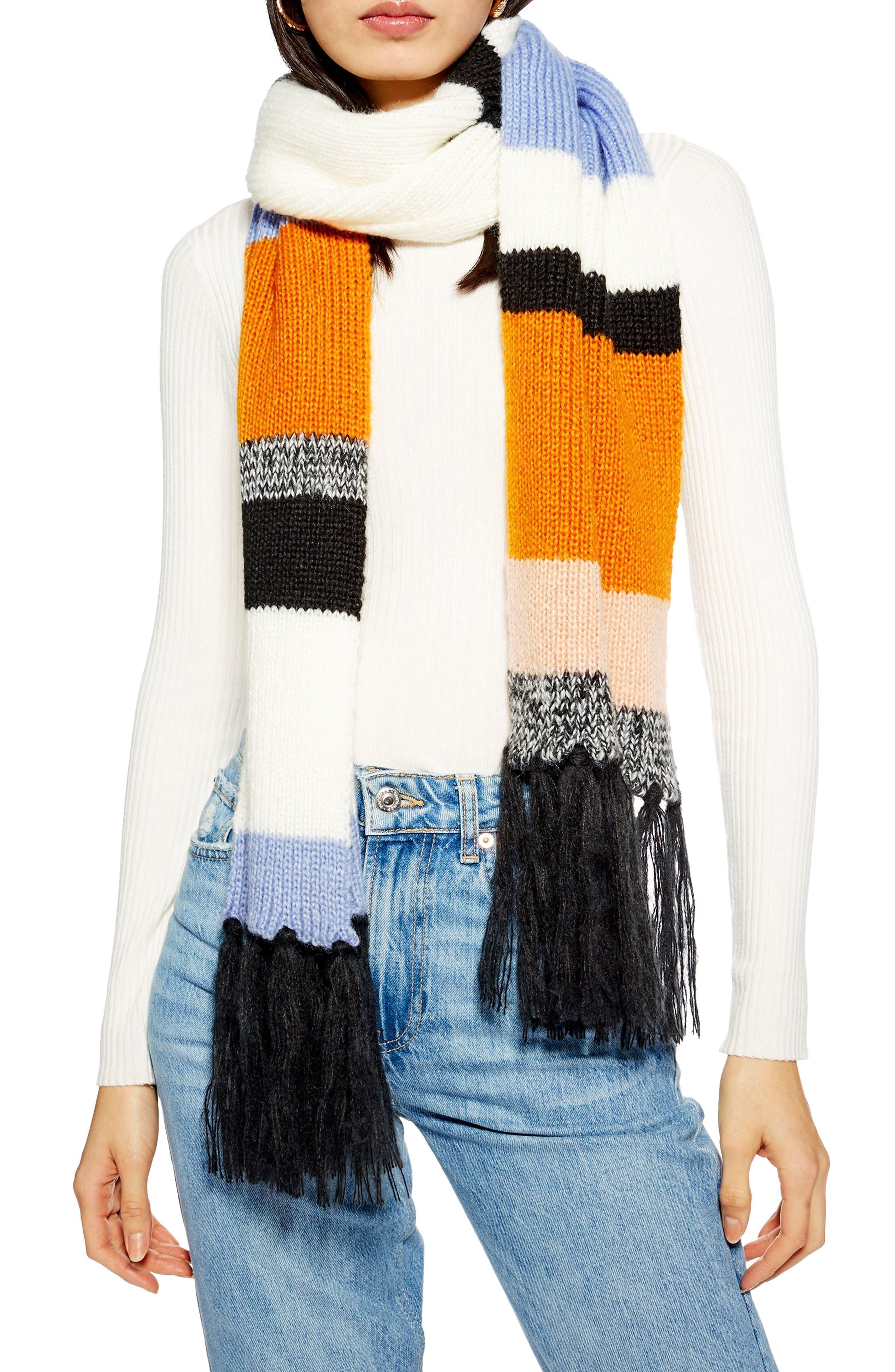 Tweedy Colorblock Knit Scarf, Main, color, 800