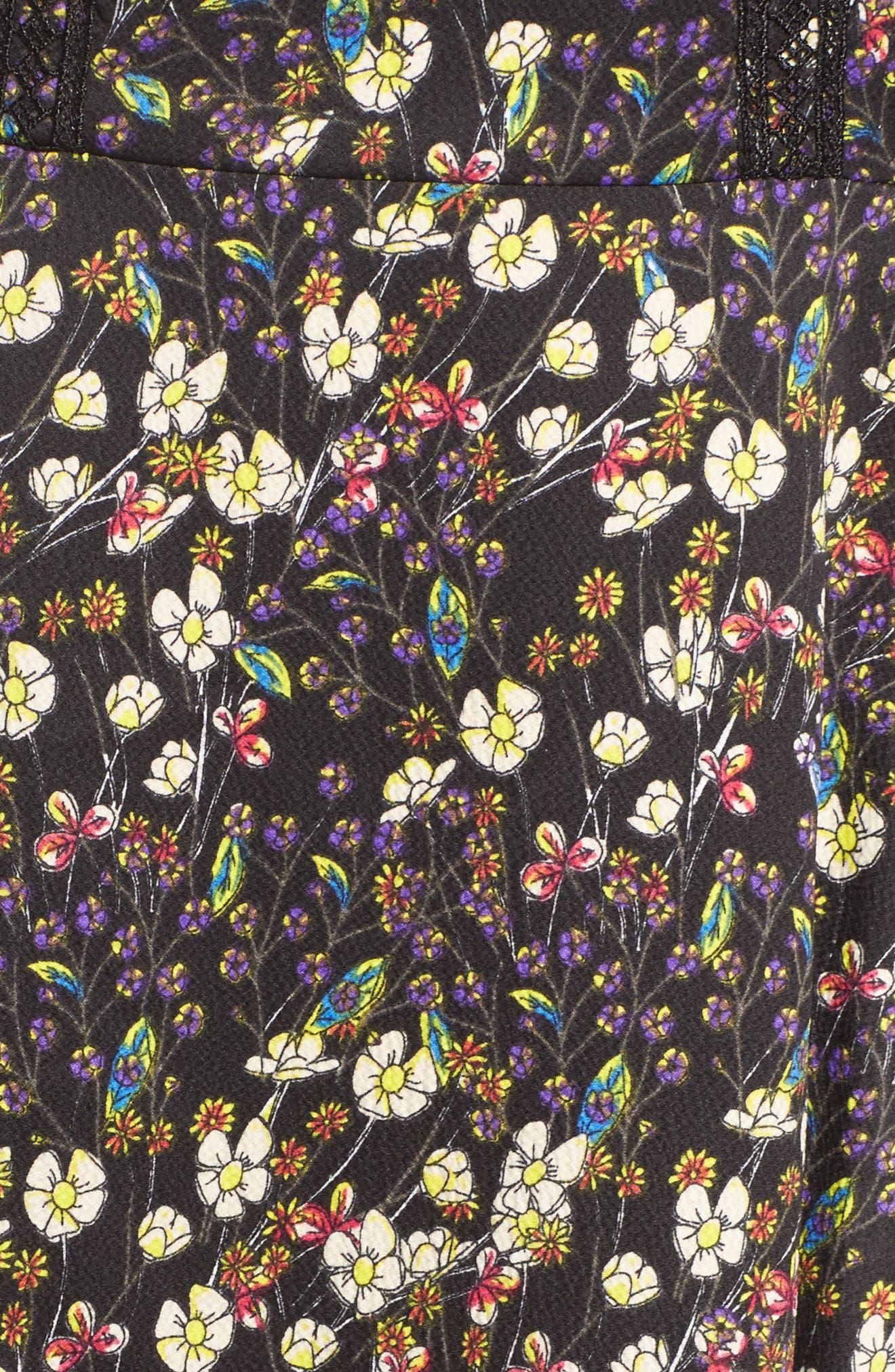 Hallie Fit & Flare Dress,                             Alternate thumbnail 5, color,                             BLACK MULTI
