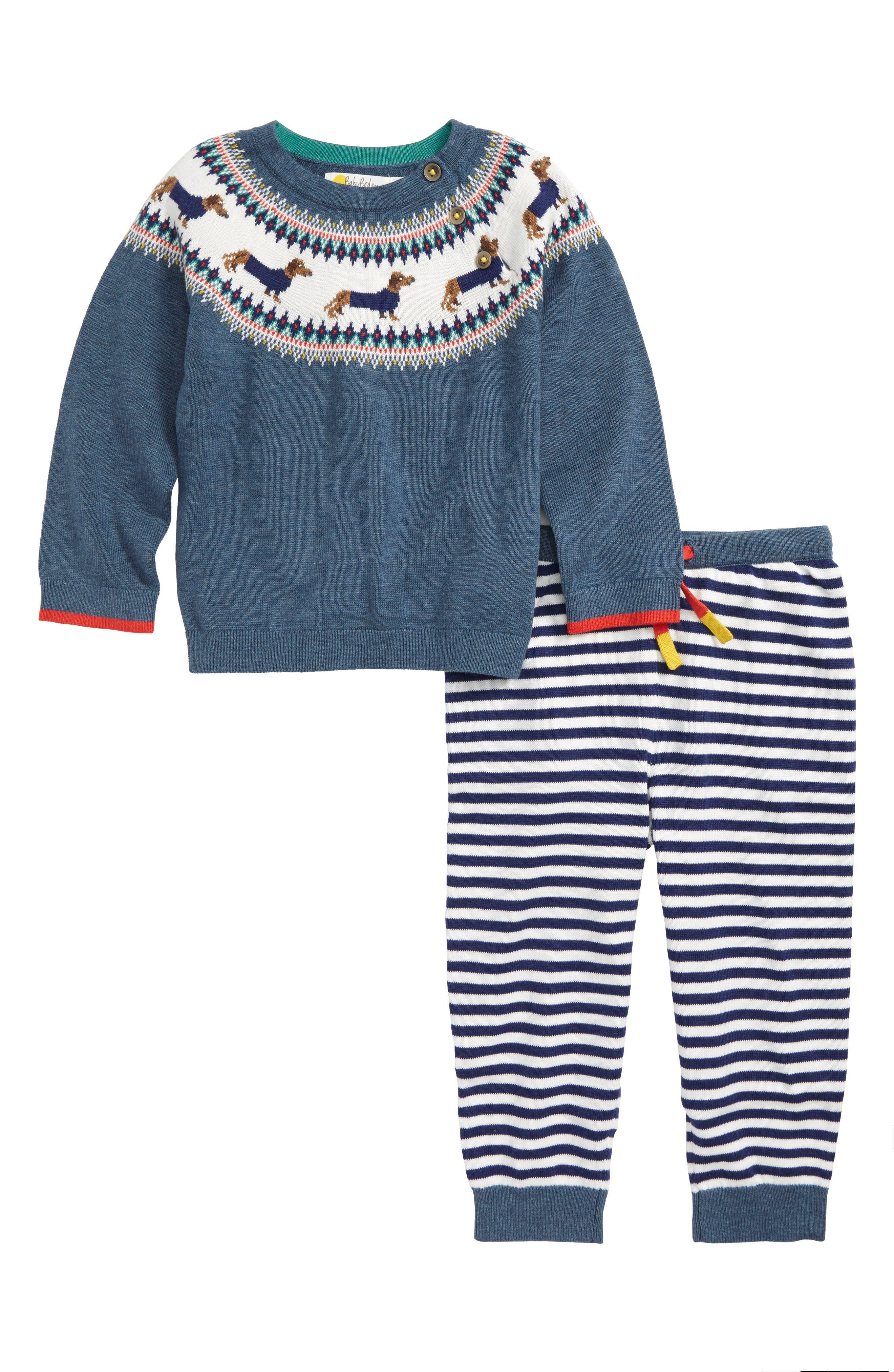 Intarsia Knit Sweater & Pants Set, Main, color, 424