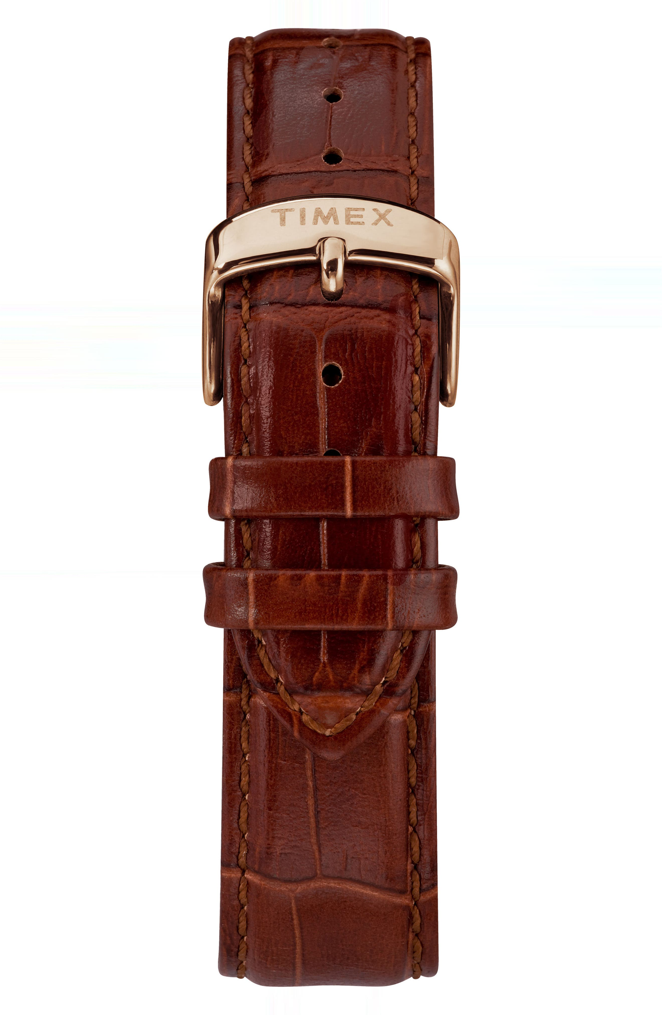 TIMEX<SUP>®</SUP>,                             Waterbury Leather Strap Watch, 40mm,                             Alternate thumbnail 2, color,                             BROWN/ BLACK/ ROSE GOLD