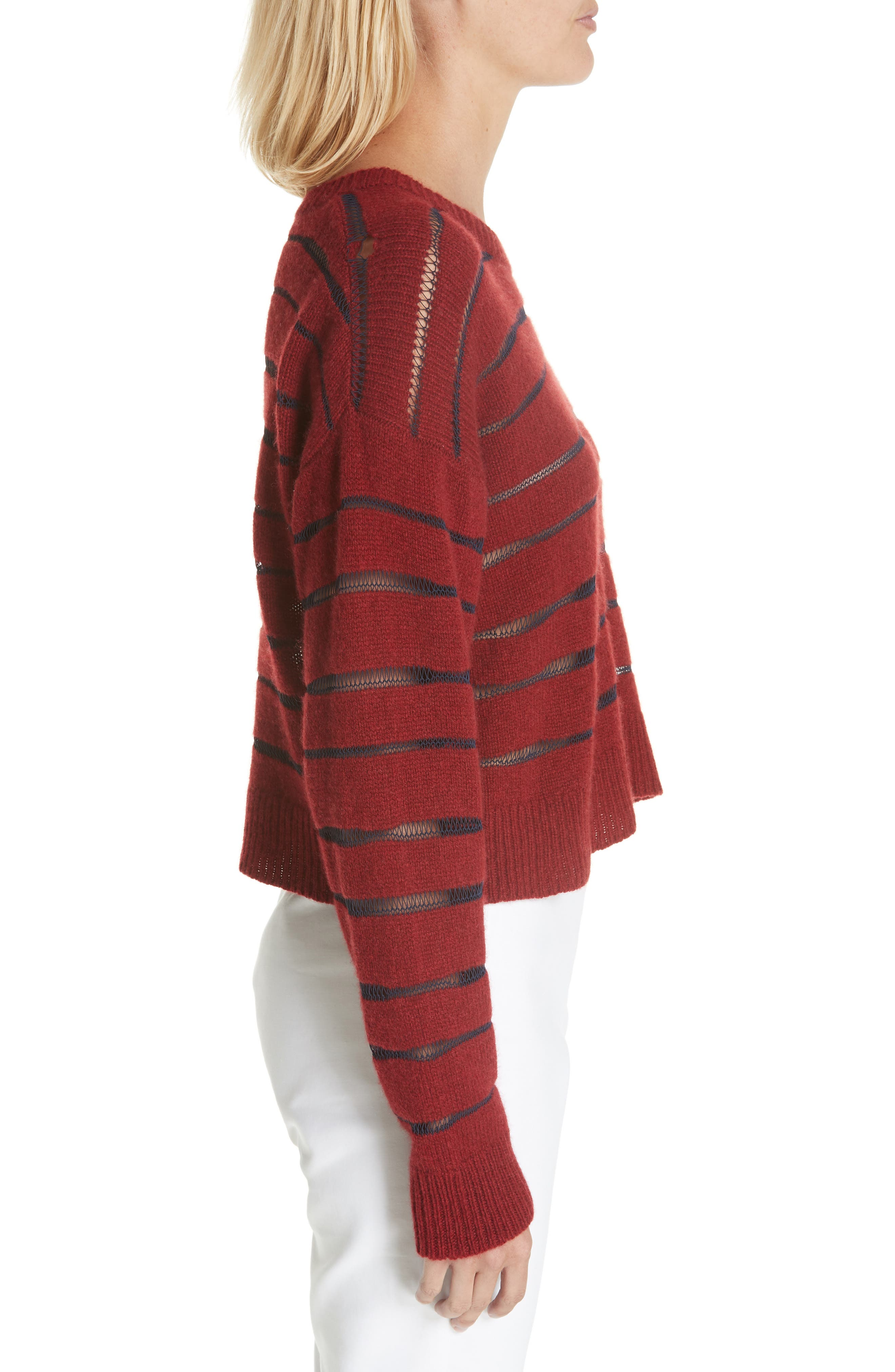 Penn Sheer Stripe Crop Sweater,                             Alternate thumbnail 3, color,                             068
