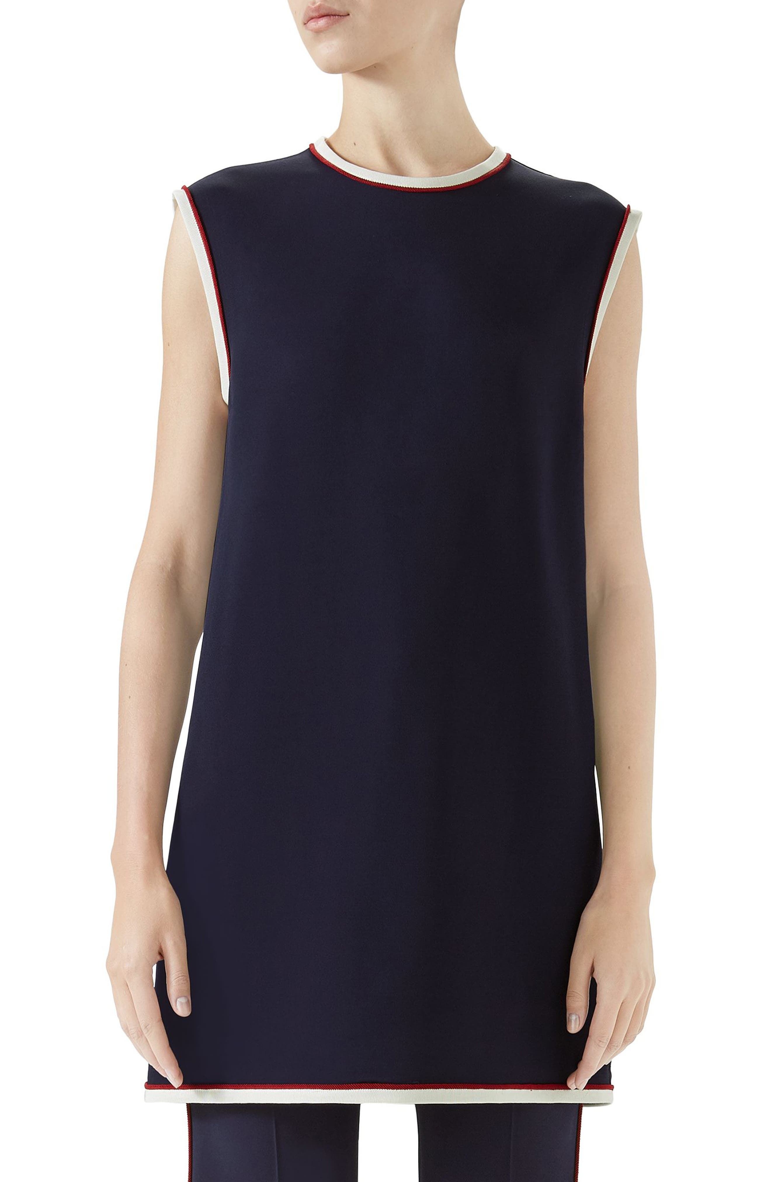 Stretch Cady Tunic Top,                         Main,                         color, BLUE