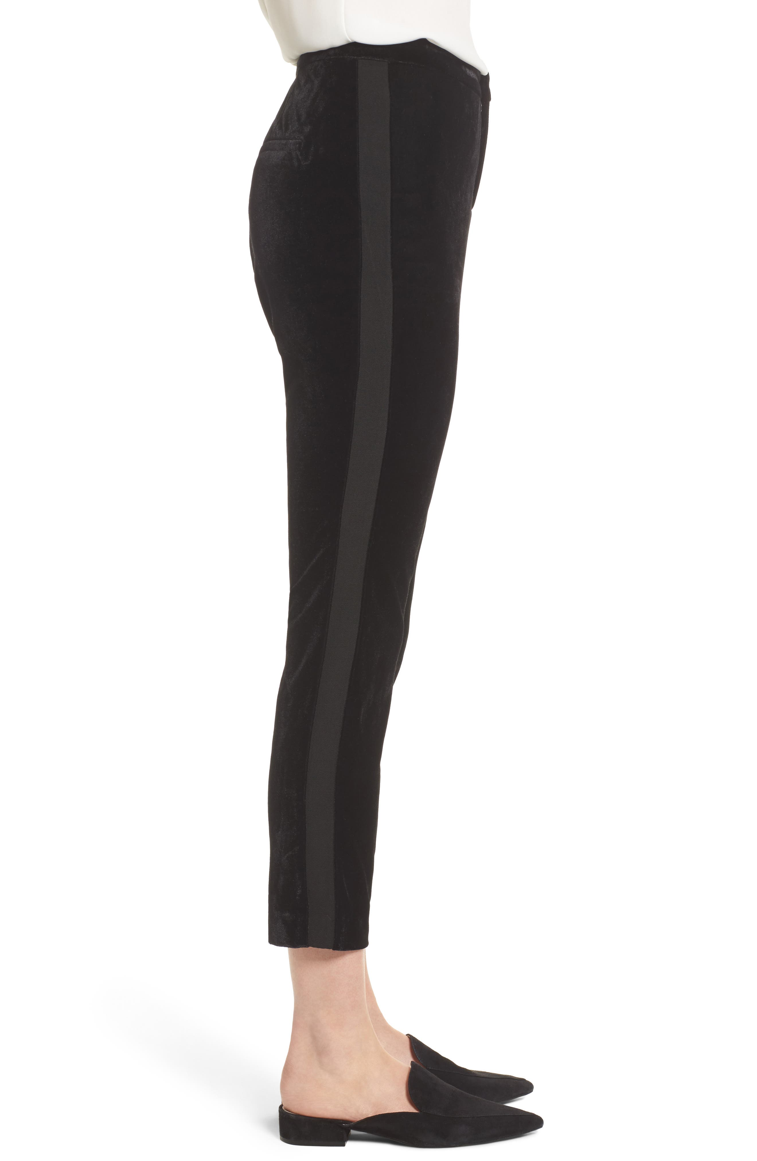 Evalina Velvet Crop Skinny Pants,                             Alternate thumbnail 3, color,                             001