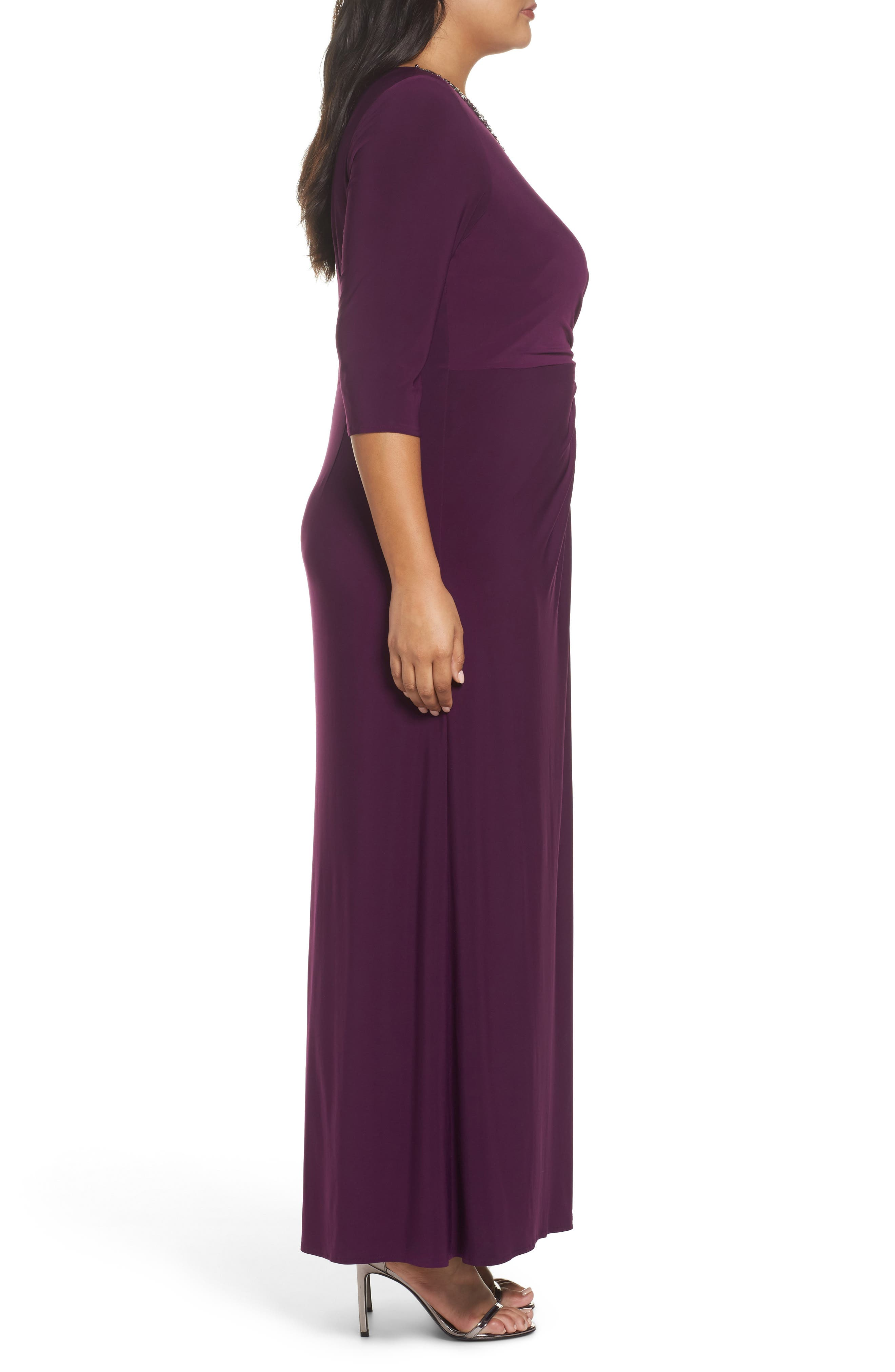 Embellished Knot Front A-Line Gown,                             Alternate thumbnail 3, color,                             511
