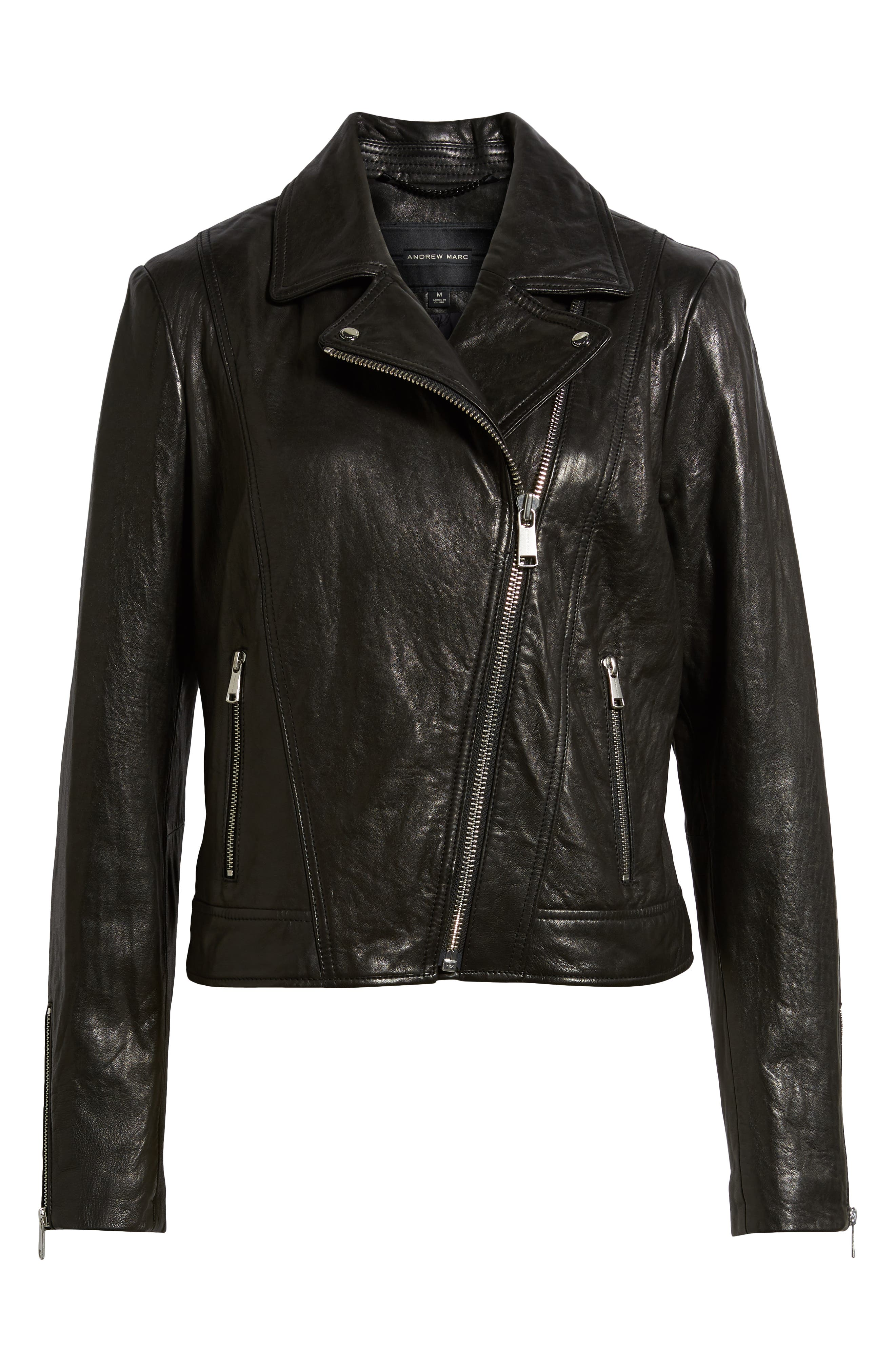Washed Nappa Leather Moto Jacket,                             Alternate thumbnail 6, color,                             BLACK