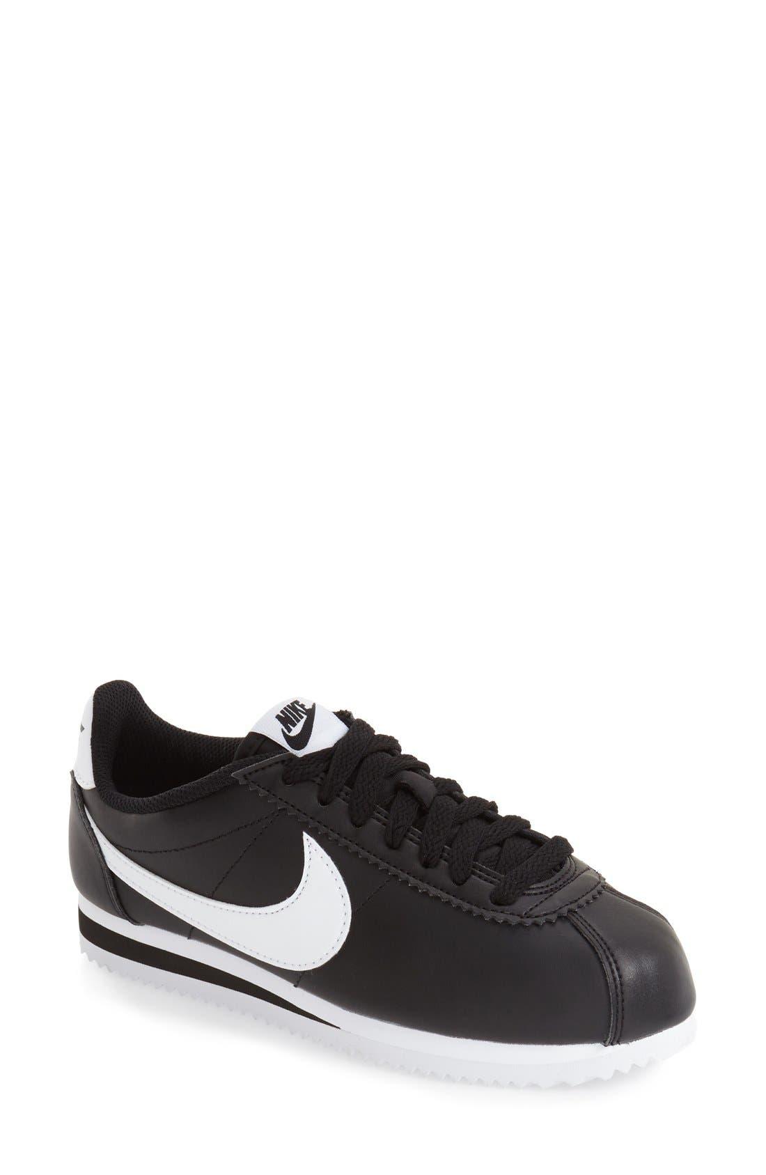 Classic Cortez Sneaker in Black/ White/ White