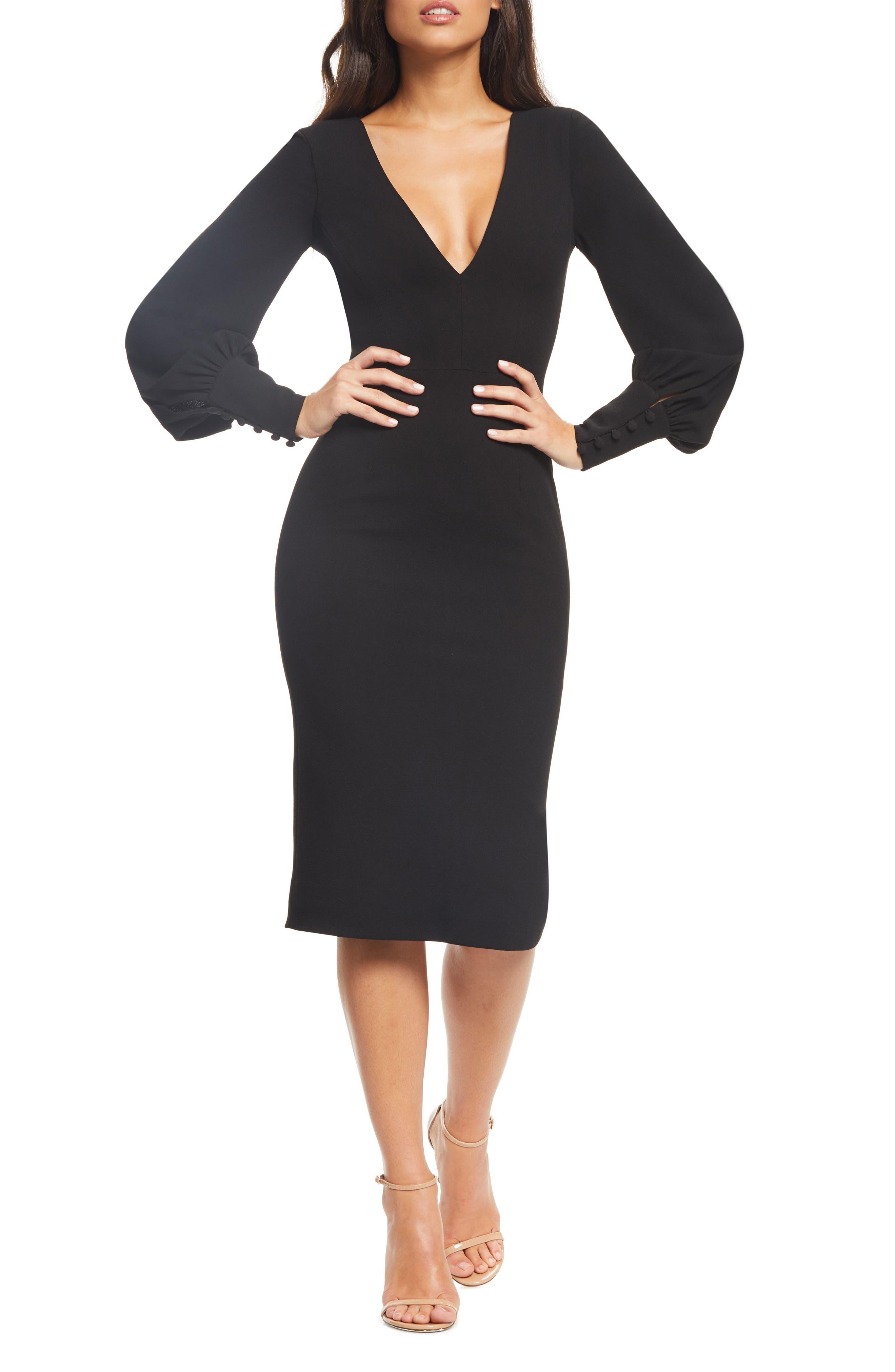 Dress The Population Norah Plunge Body-Con Dress, Black