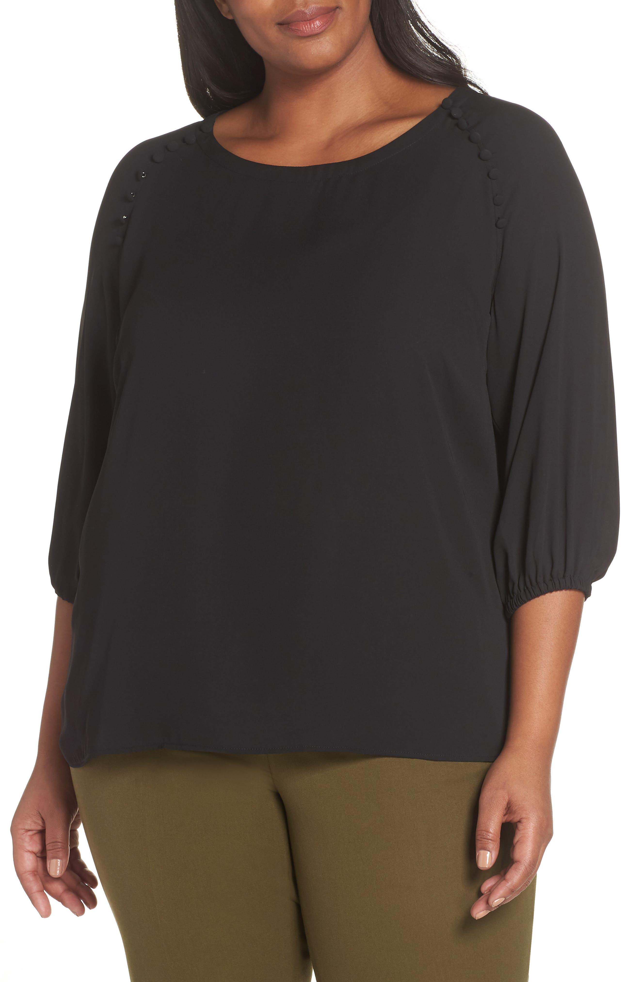 Button Detail Blouse,                         Main,                         color, BLACK