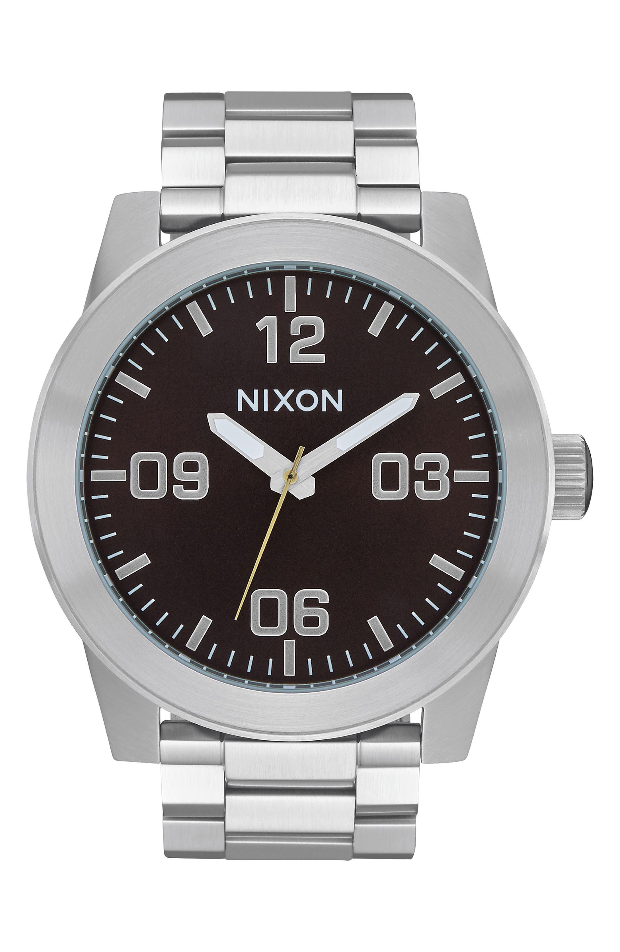 Corporal Bracelet Watch, 48mm, Main, color, SILVER/ BLACK/ SILVER