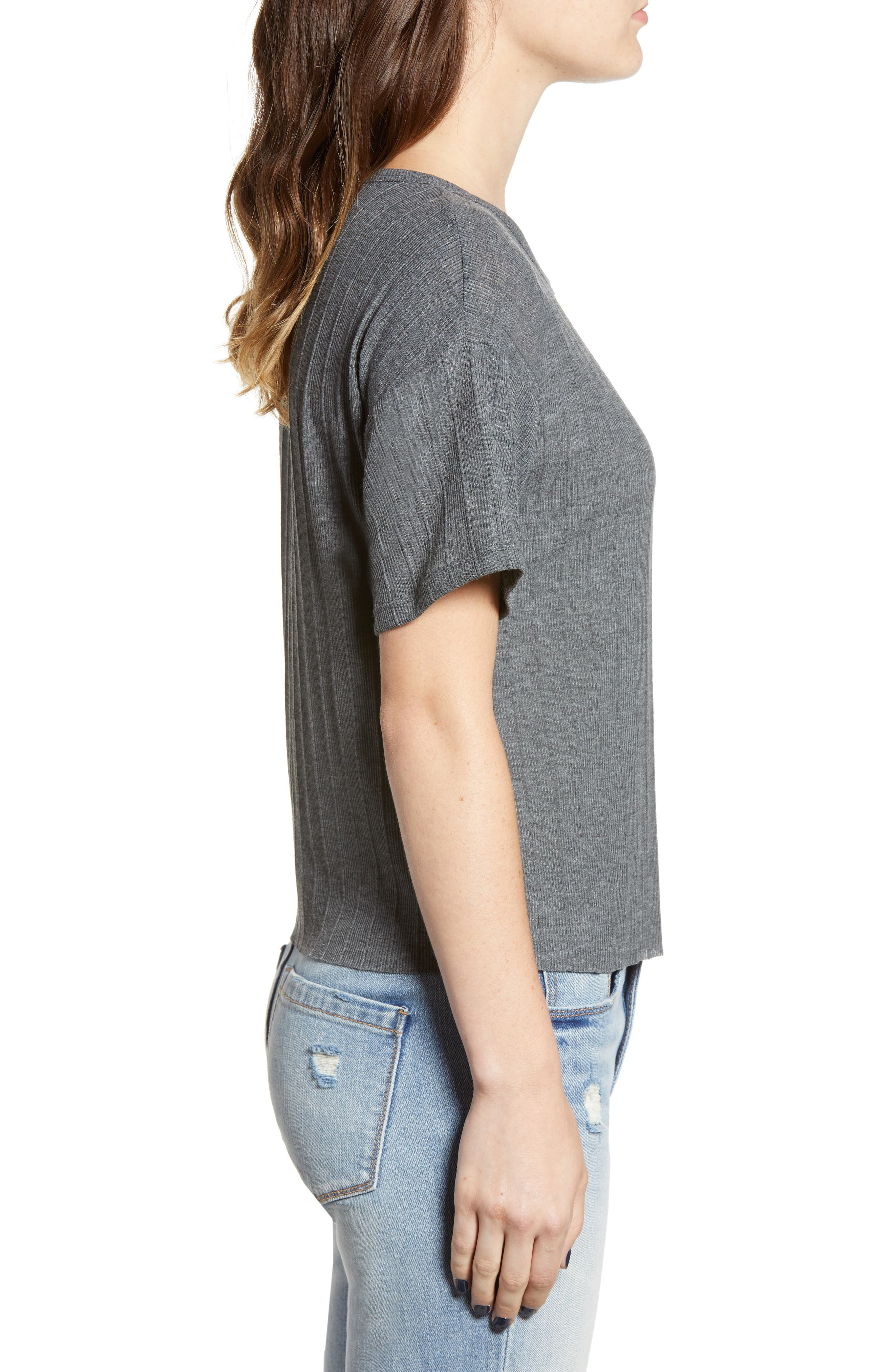 Variegated Rib Knit Tee,                             Alternate thumbnail 3, color,                             CHARCOAL