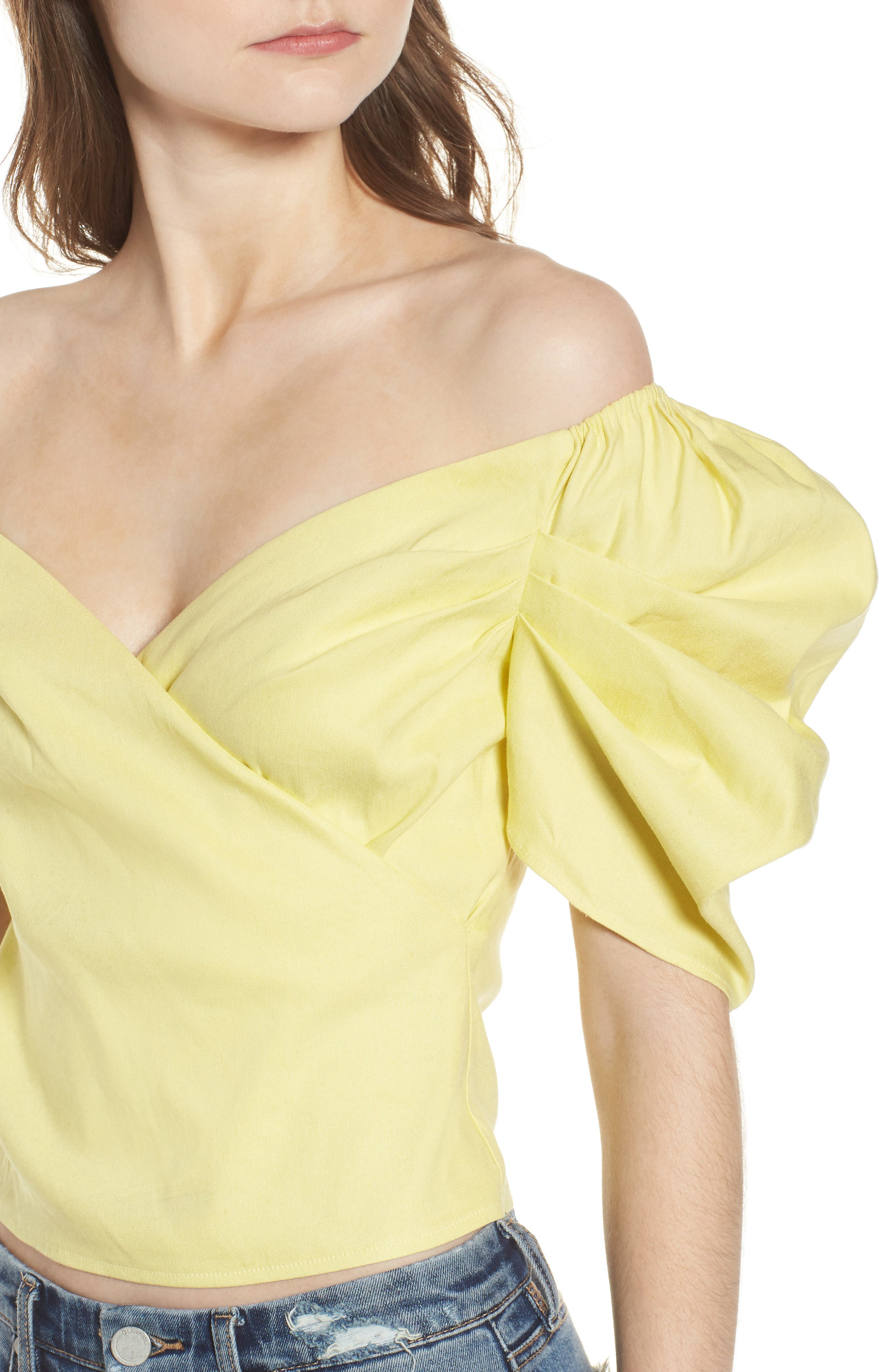 Off the Shoulder Top,                             Alternate thumbnail 4, color,                             YELLOW CANARY