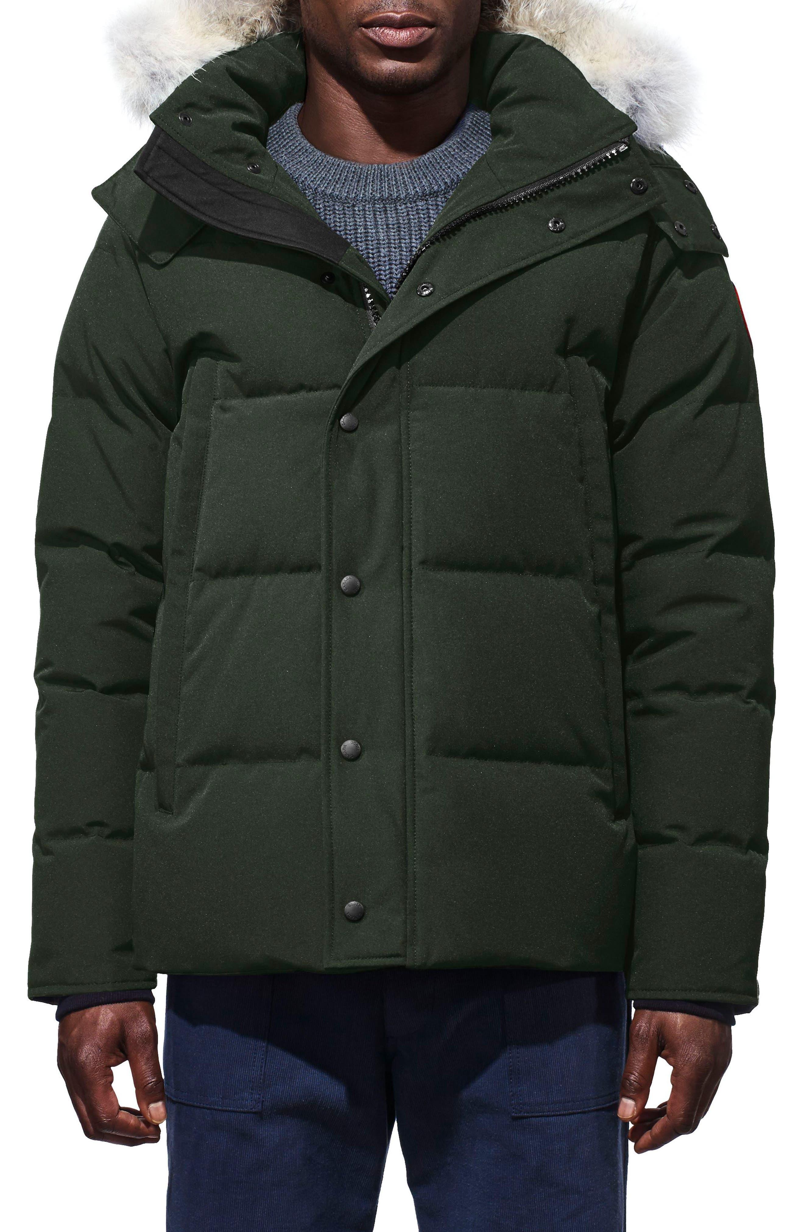 CANADA GOOSE Wyndham Slim Fit Genuine Coyote Fur Trim Down Jacket, Main, color, VOLCANO