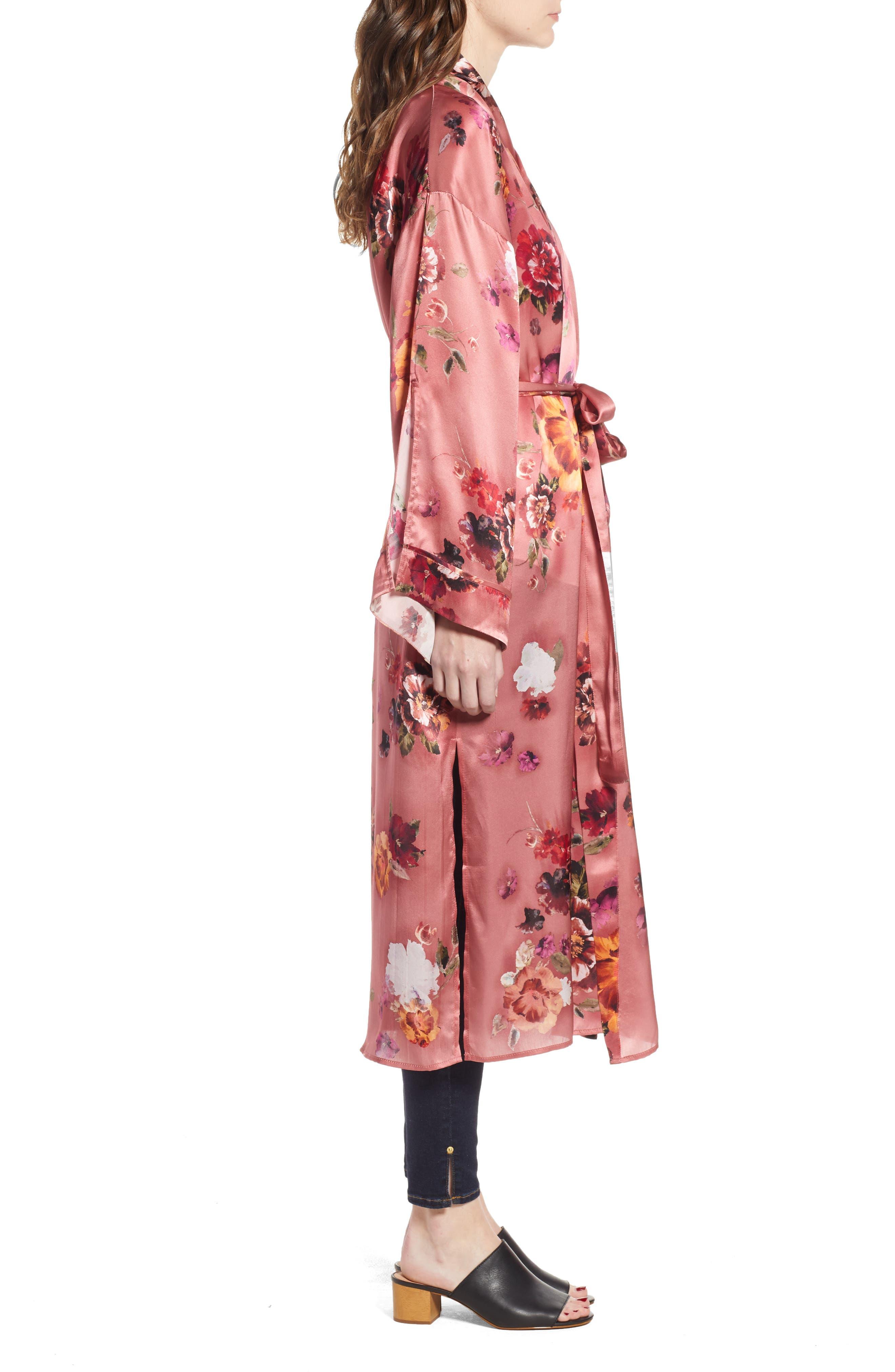 Print Long Silk Kimono,                             Alternate thumbnail 3, color,                             PINK AUTUMN BOUQUET