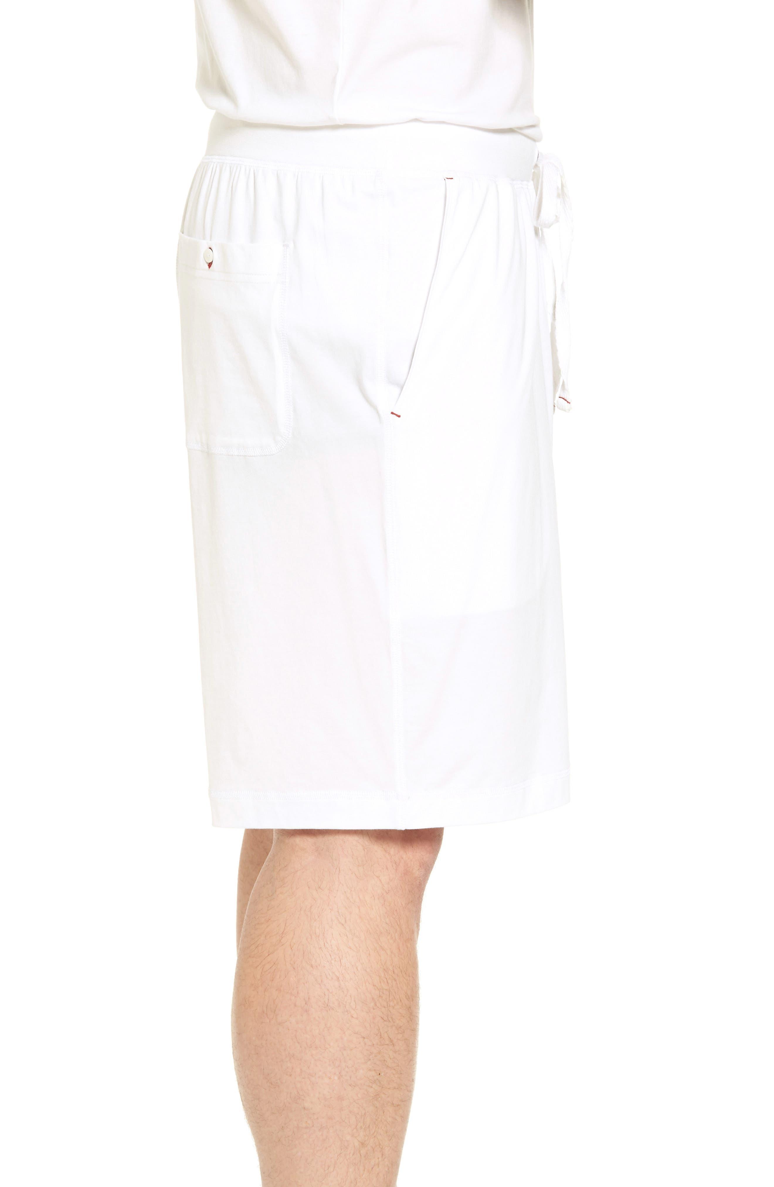 Stretch Cotton Blend Lounge Shorts,                             Alternate thumbnail 3, color,                             100