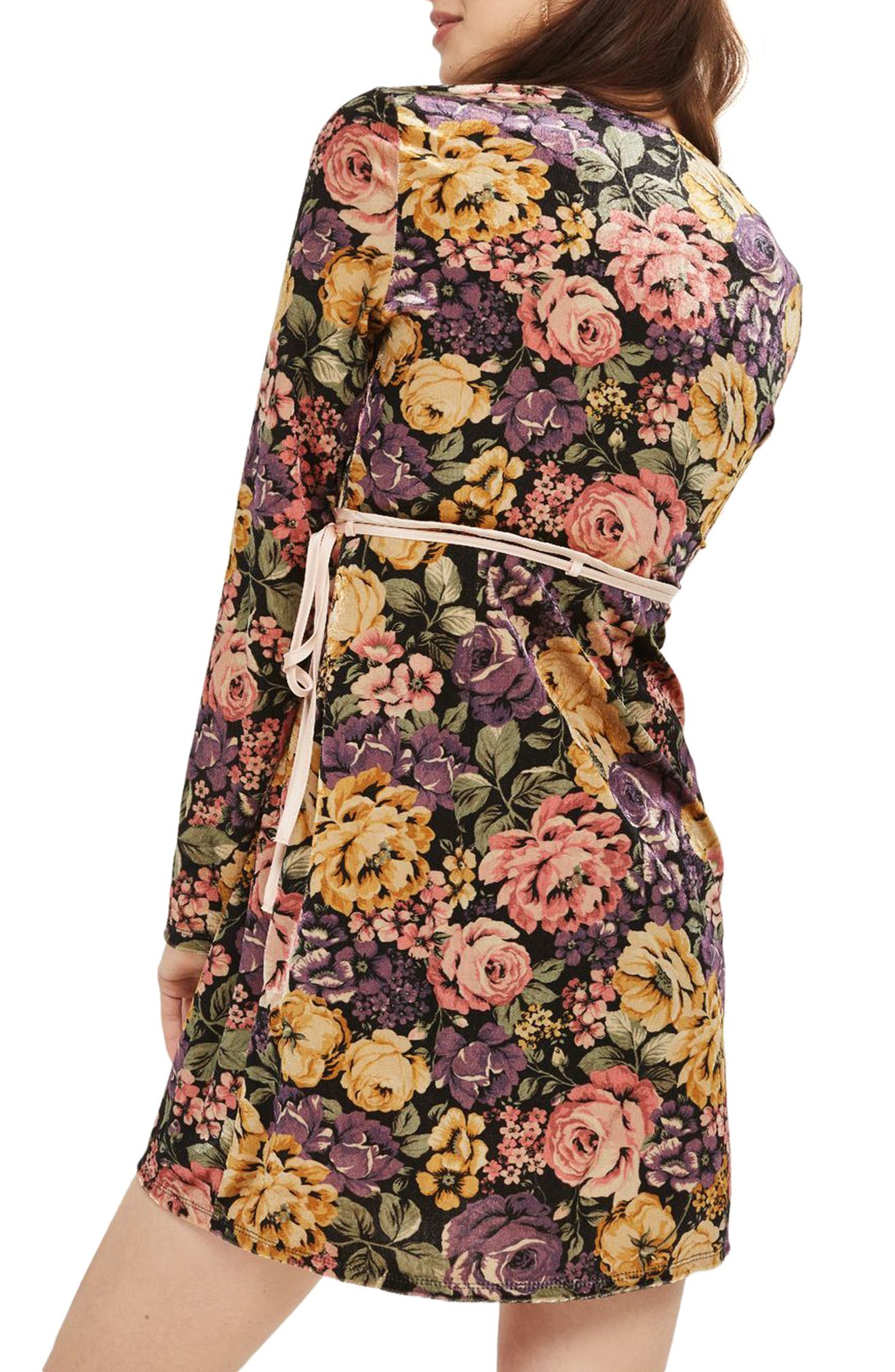Plunge Floral Wrap Dress,                             Alternate thumbnail 2, color,                             740