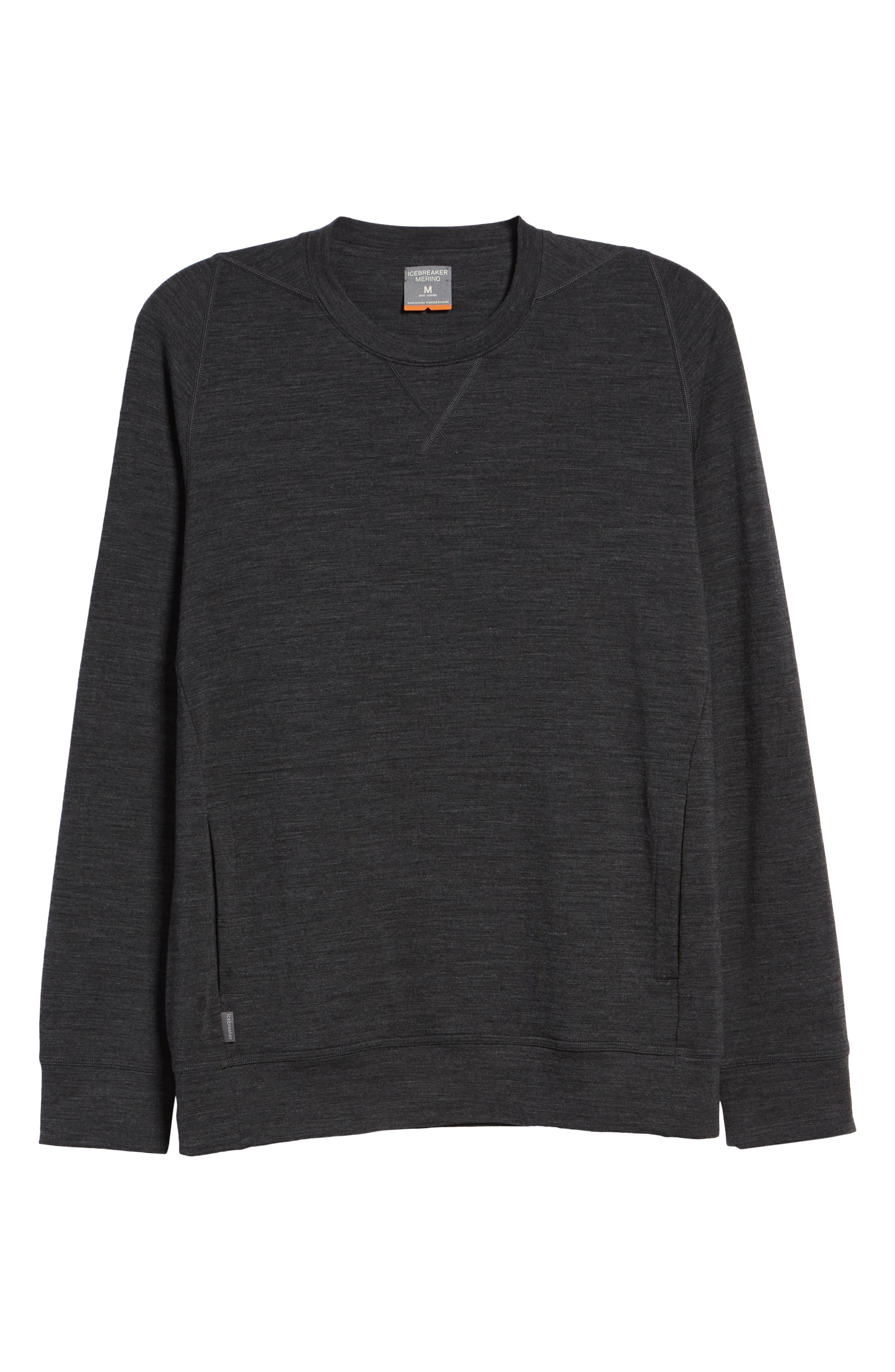 Shifter Merino Wool Blend Crewneck Sweater,                             Alternate thumbnail 6, color,                             JET HEATHER