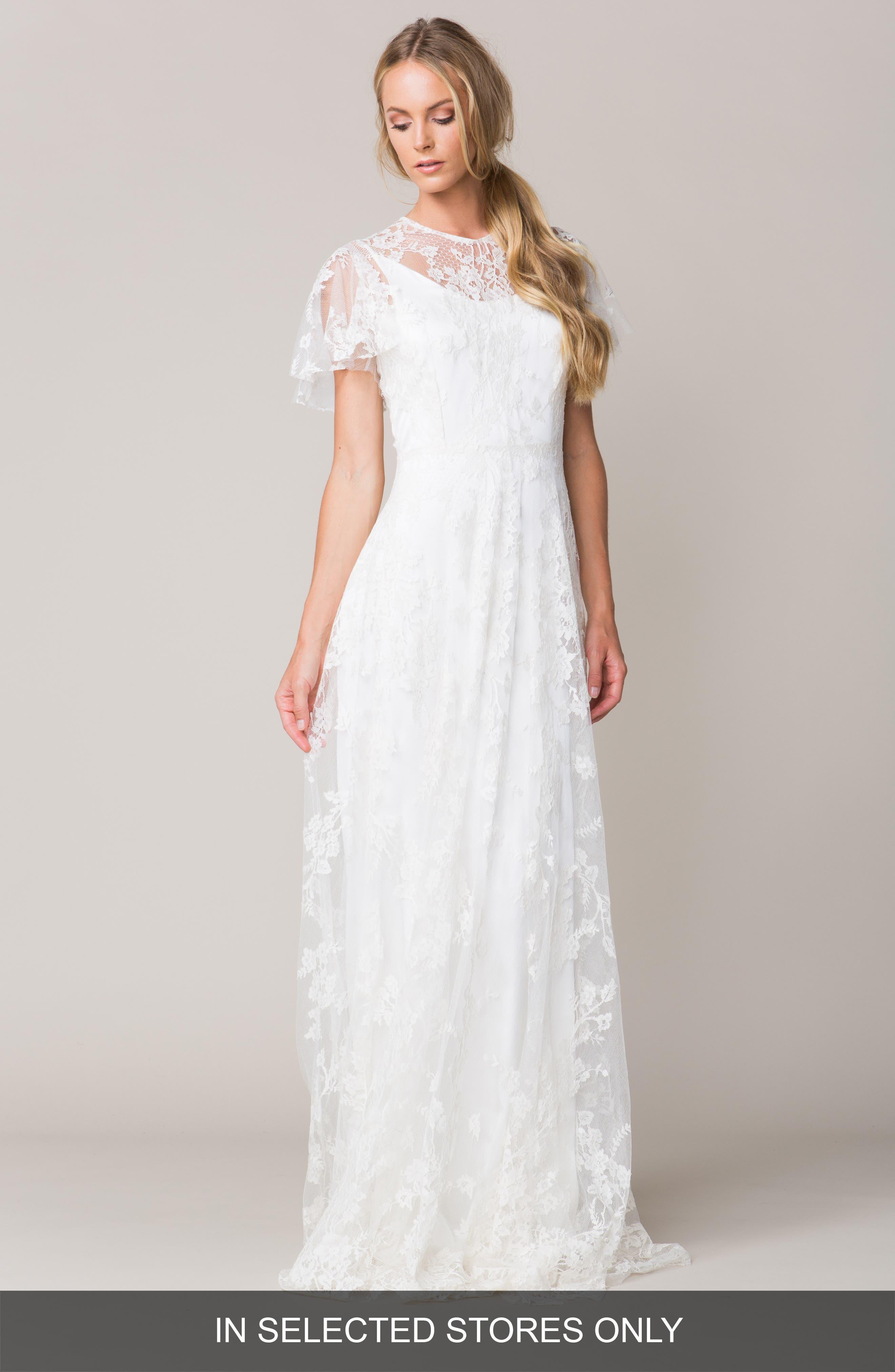 Calais Flutter Sleeve Lace A-Line Gown,                             Alternate thumbnail 2, color,                             100