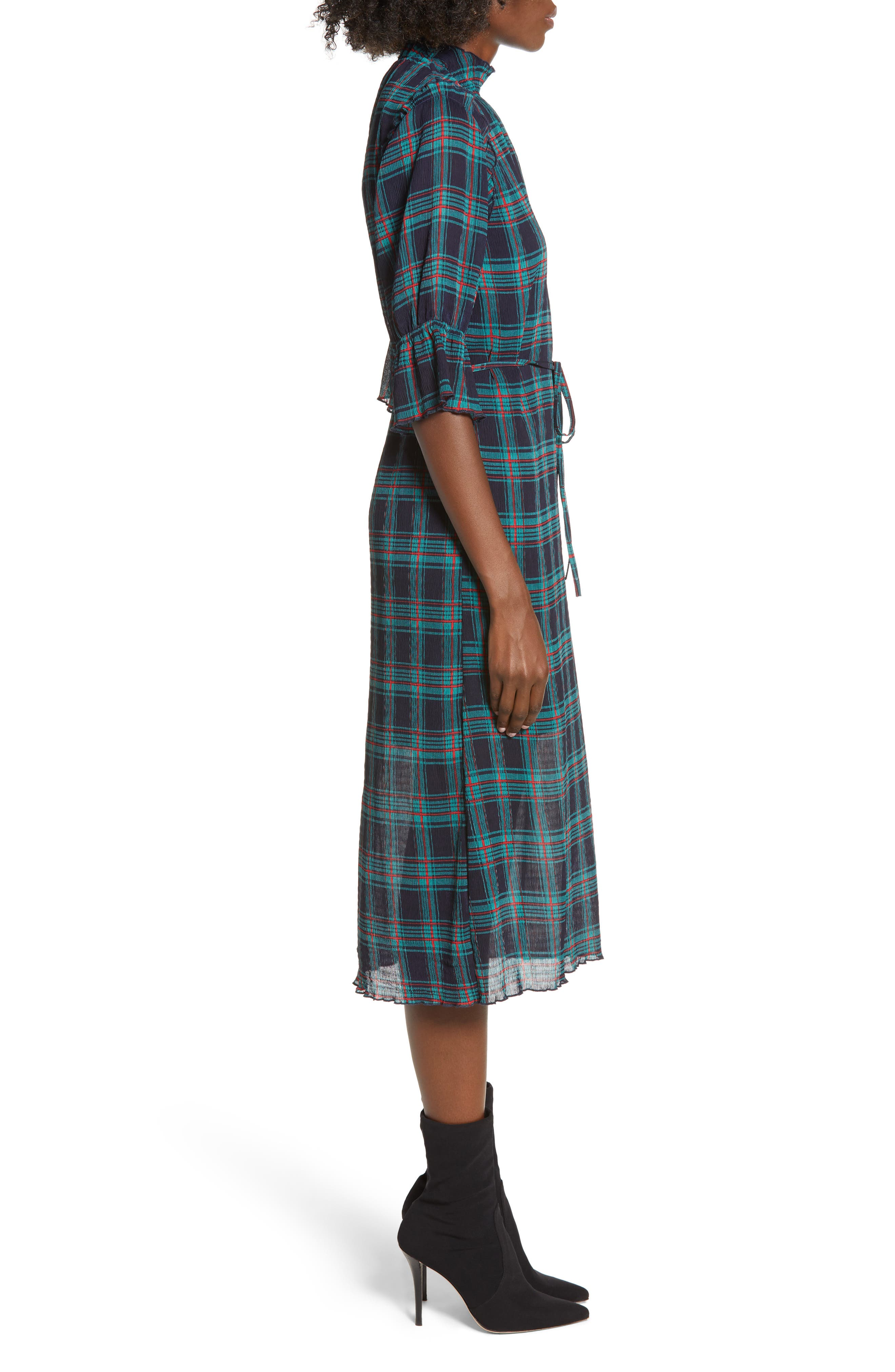 Zone Tartan Midi Dress,                             Alternate thumbnail 3, color,                             400