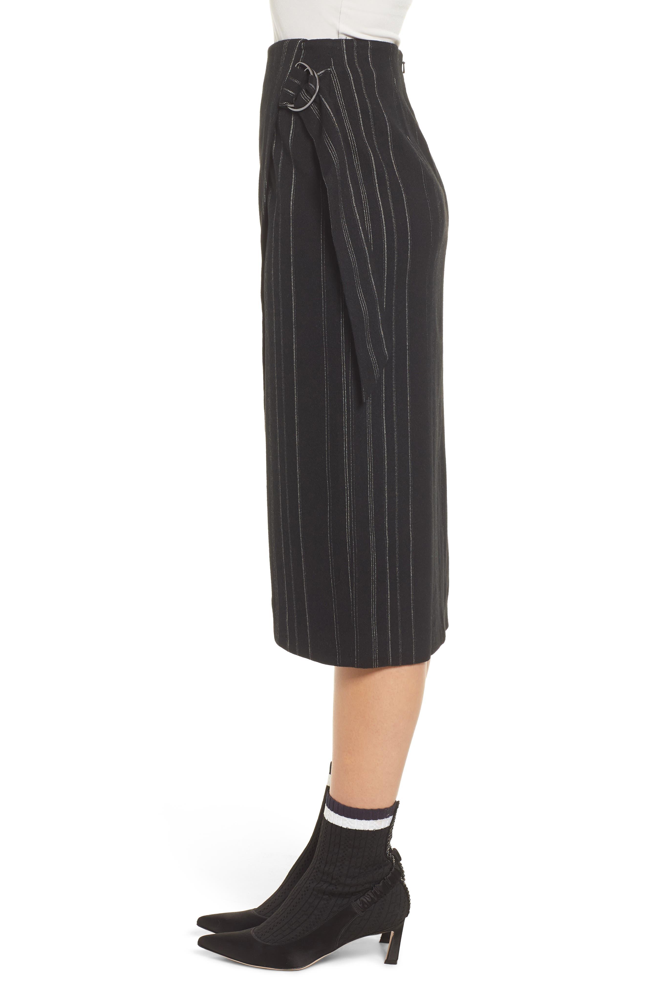 Side Tie Midi Skirt,                             Alternate thumbnail 3, color,                             001