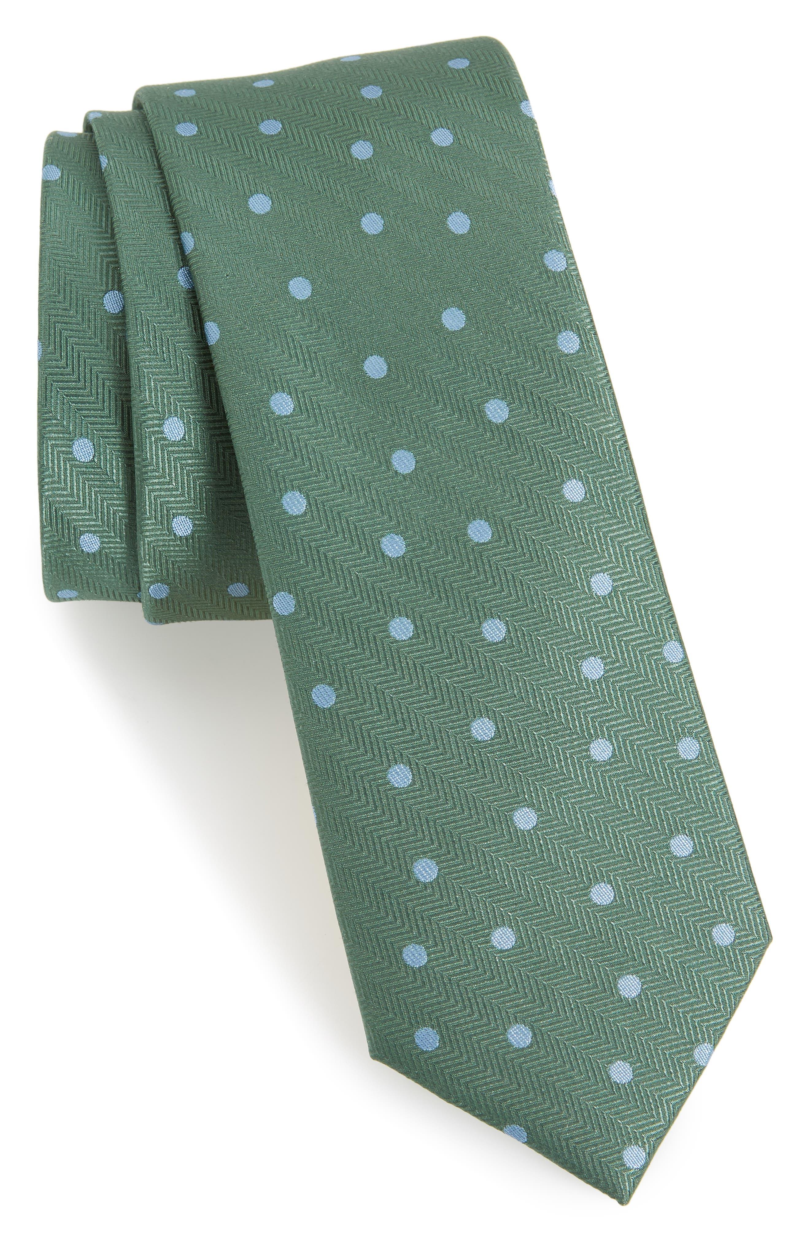 Jackson Dot Silk Tie,                             Main thumbnail 1, color,                             KELLY GREEN