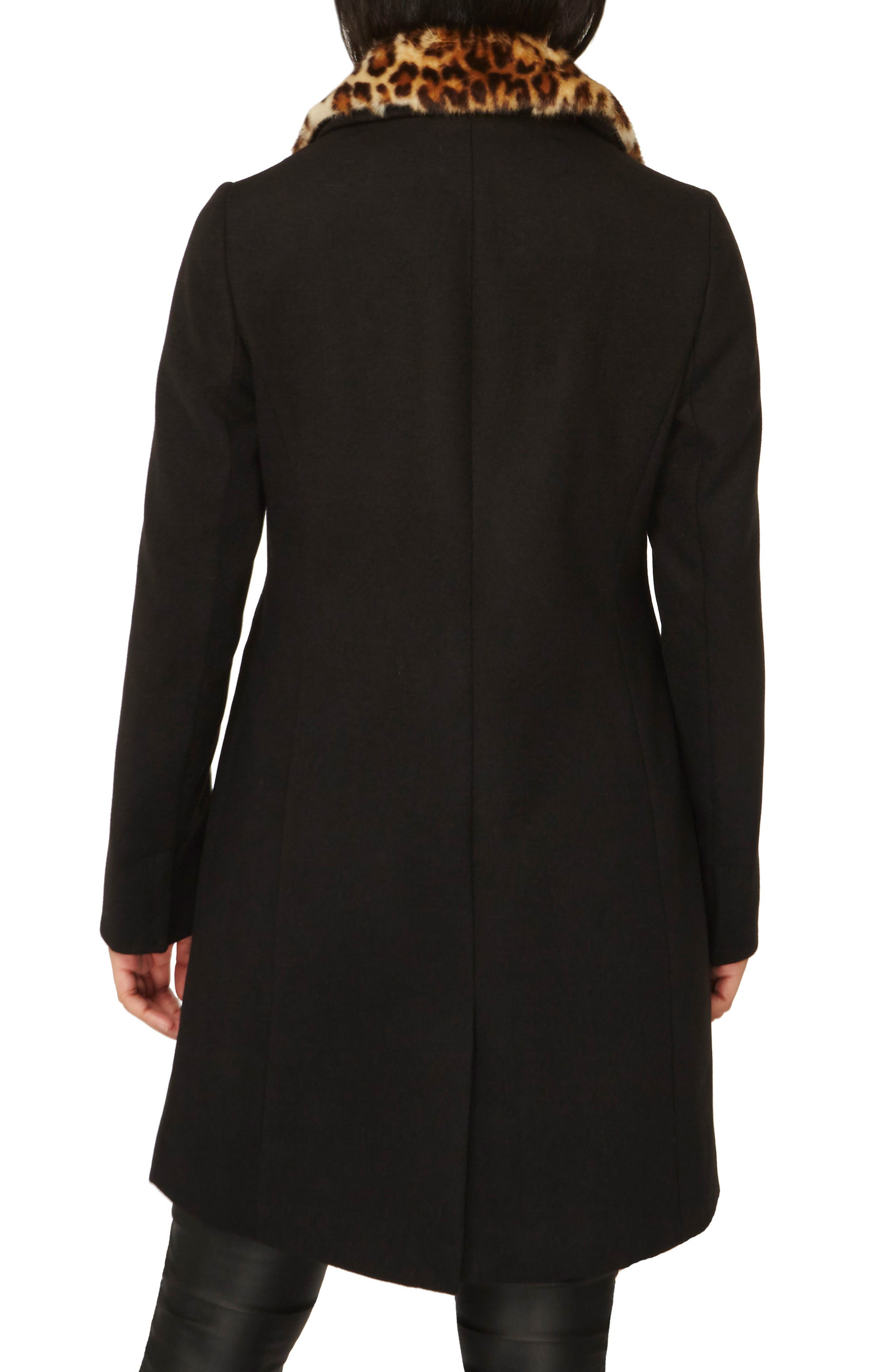 Coat with Faux Fur Collar,                             Alternate thumbnail 3, color,