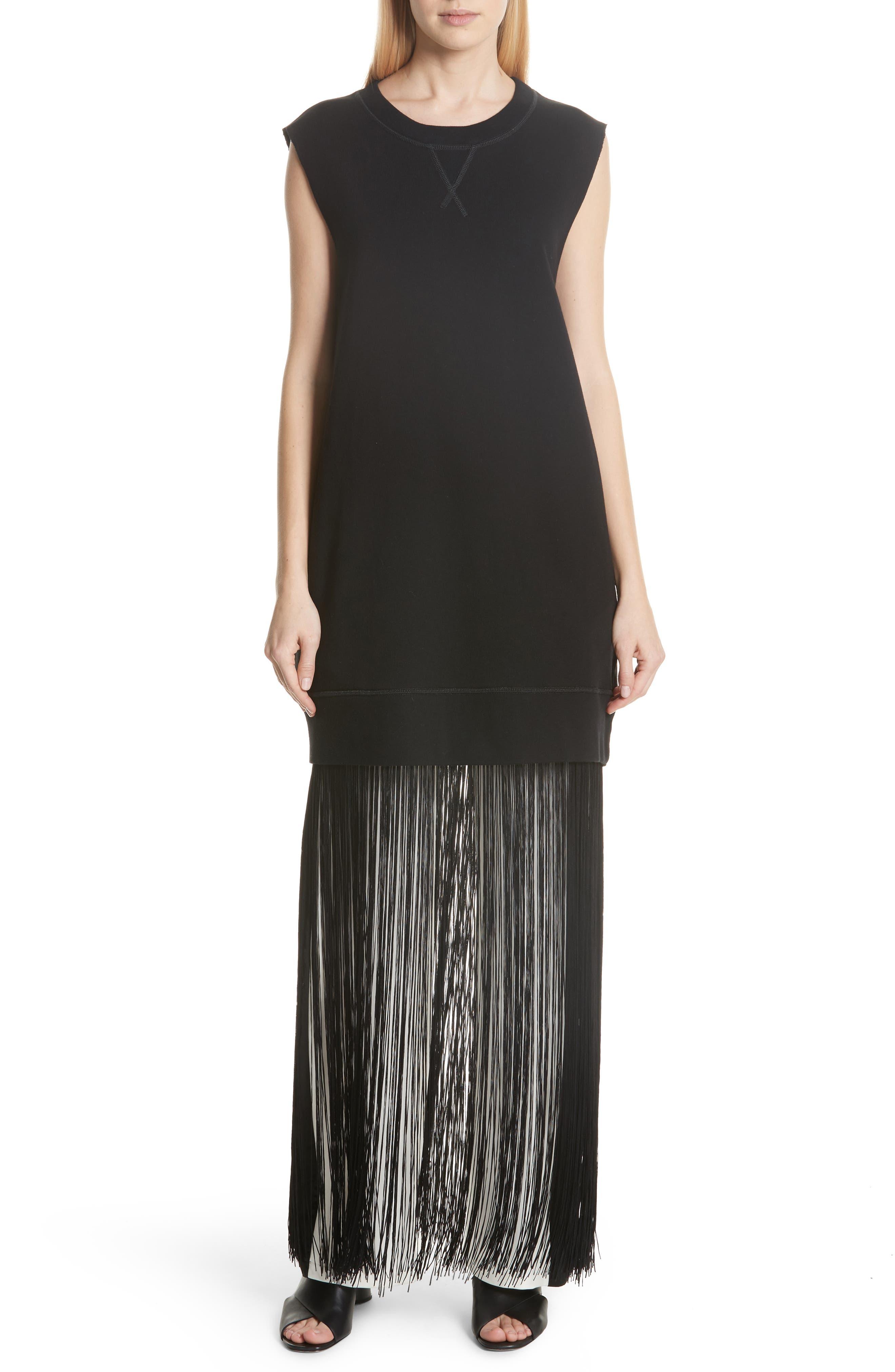 Mm6 Maison Margiela Fringe Hem Sweatshirt Dress, Black