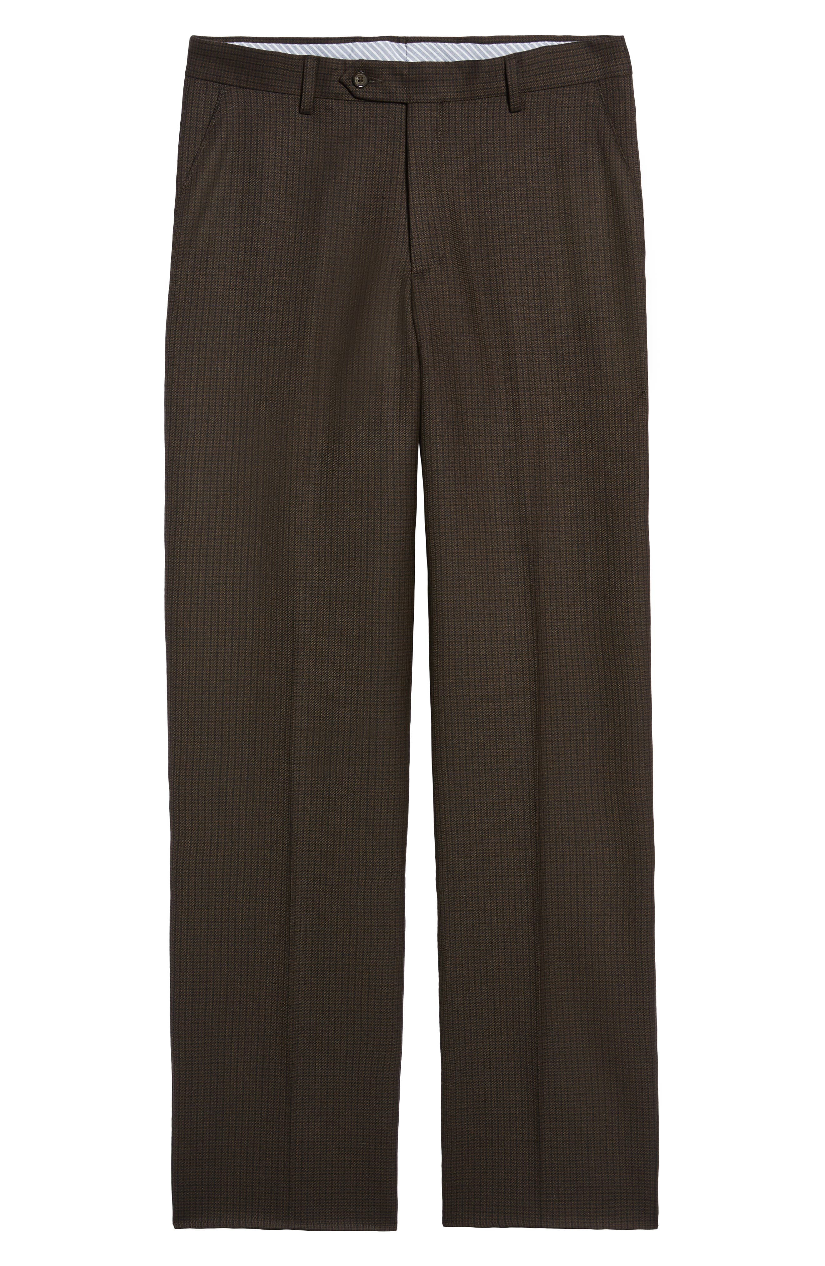 Manufacturing Flat Front Check Wool Trousers,                             Alternate thumbnail 6, color,                             BLACK