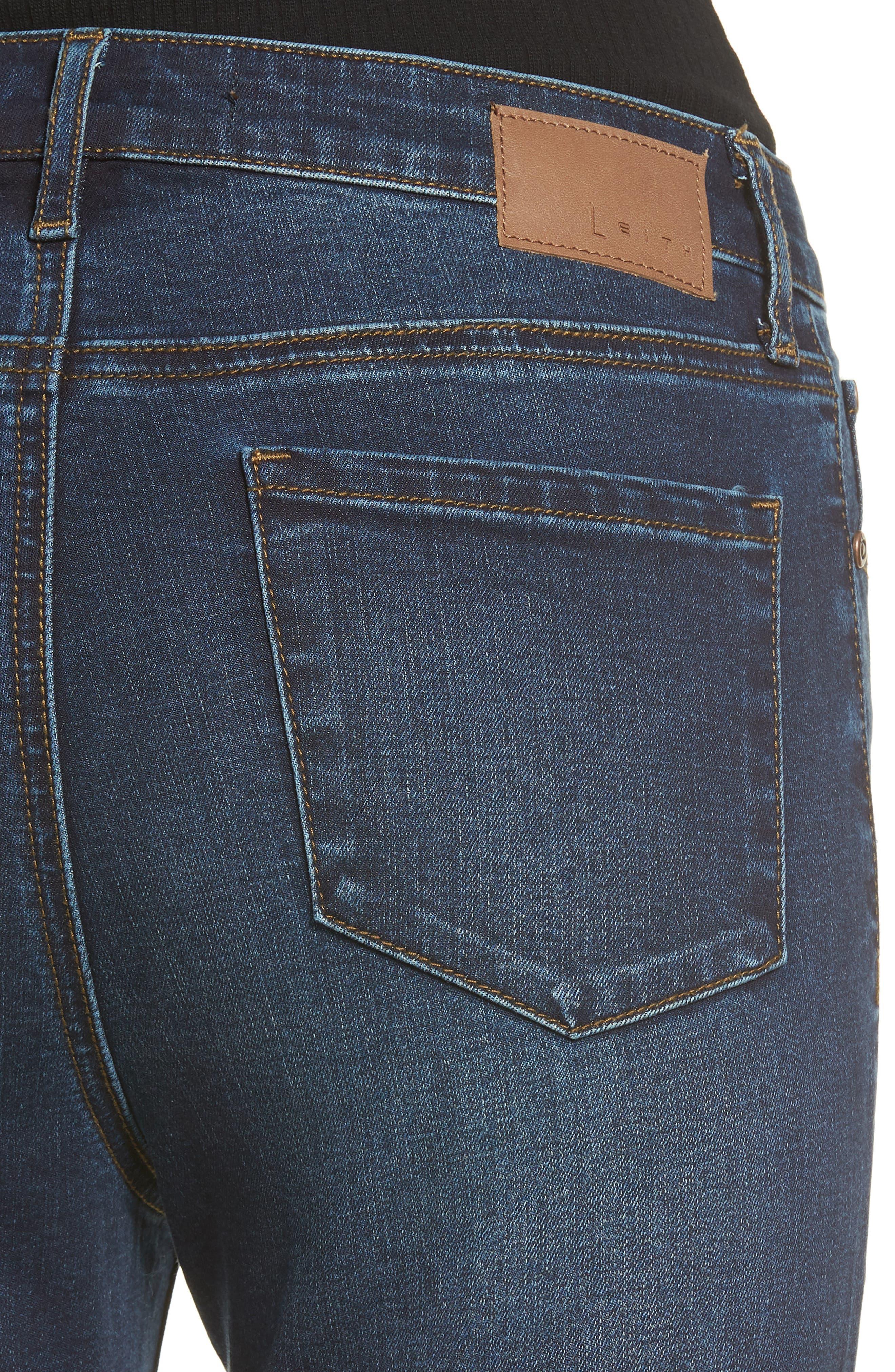 High Waist Flare Jeans,                             Alternate thumbnail 4, color,                             MEDIUM WASH