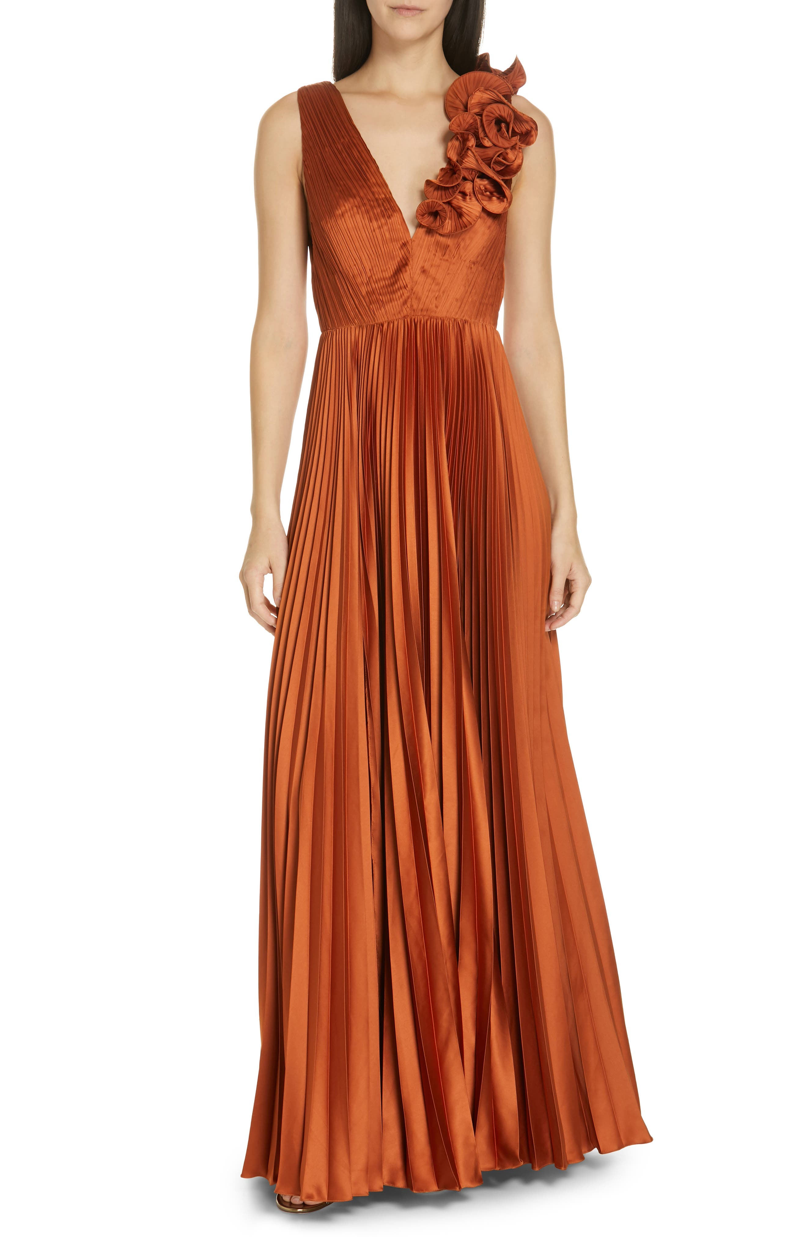 Amur Aviva Pleated Satin Maxi Dress, Metallic