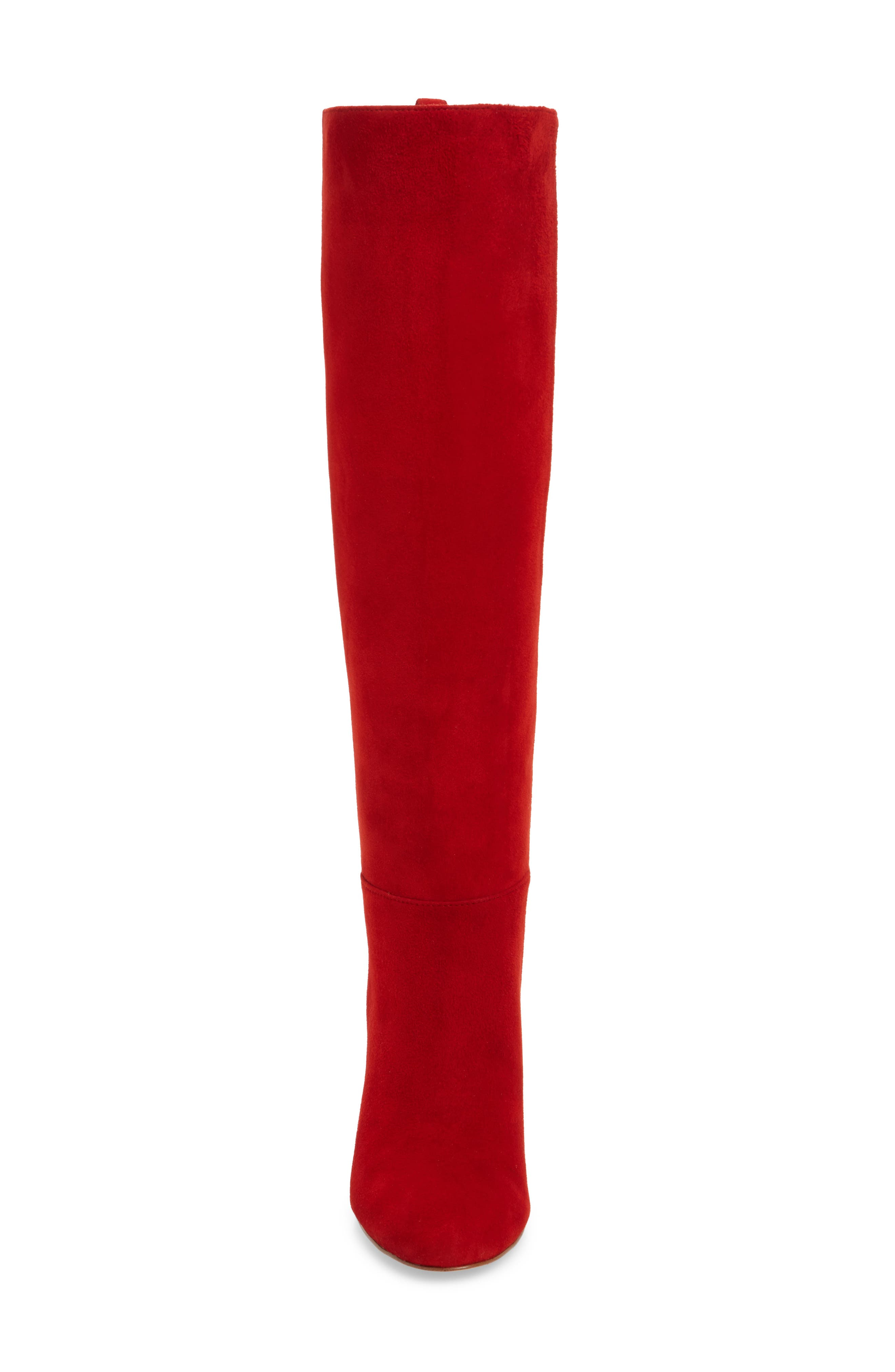 Caprice Knee-High Boot,                             Alternate thumbnail 4, color,                             CANDY RED SUEDE
