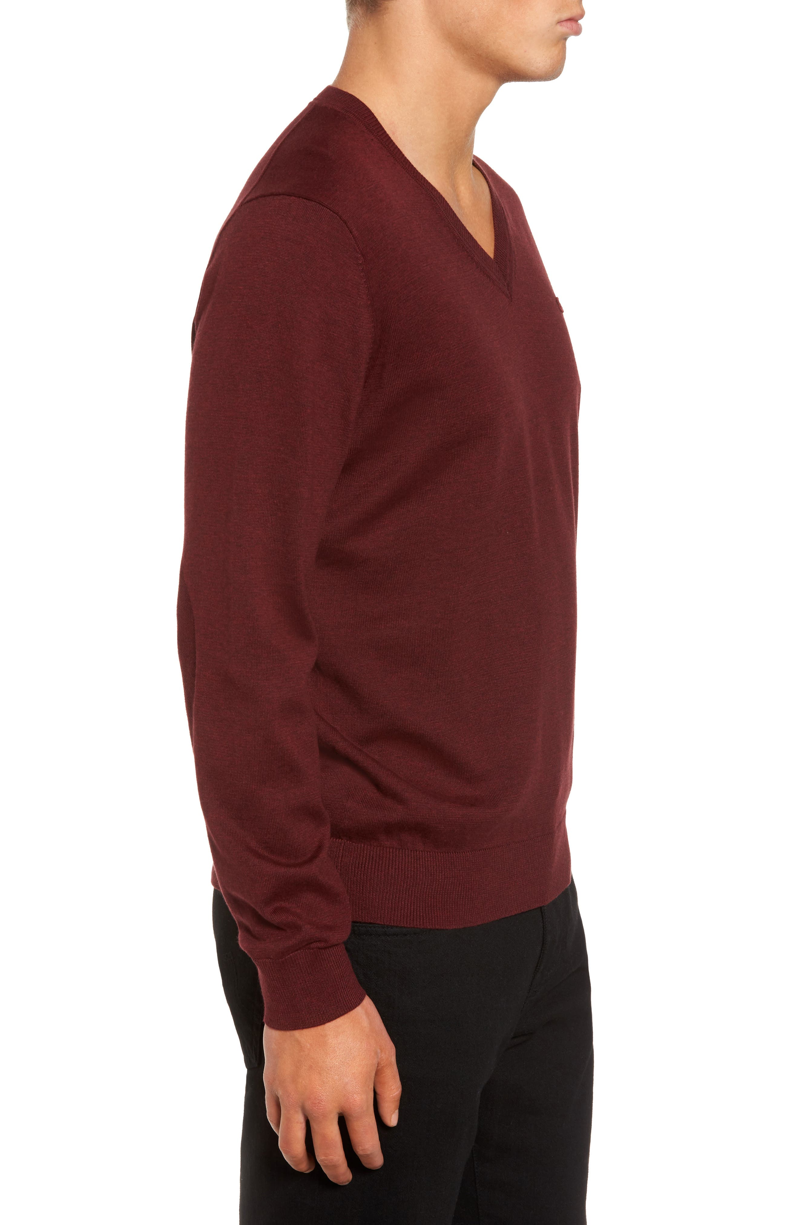 Cotton Jersey V-Neck Sweater,                             Alternate thumbnail 14, color,
