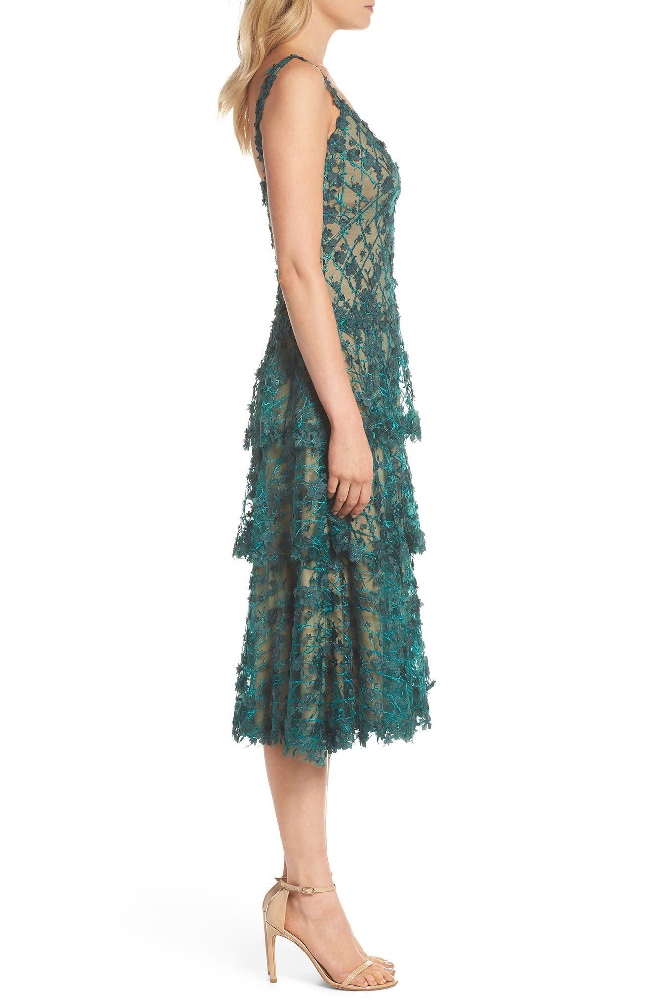 3D Floral Midi Dress,                             Alternate thumbnail 3, color,                             PINE/ NUDE