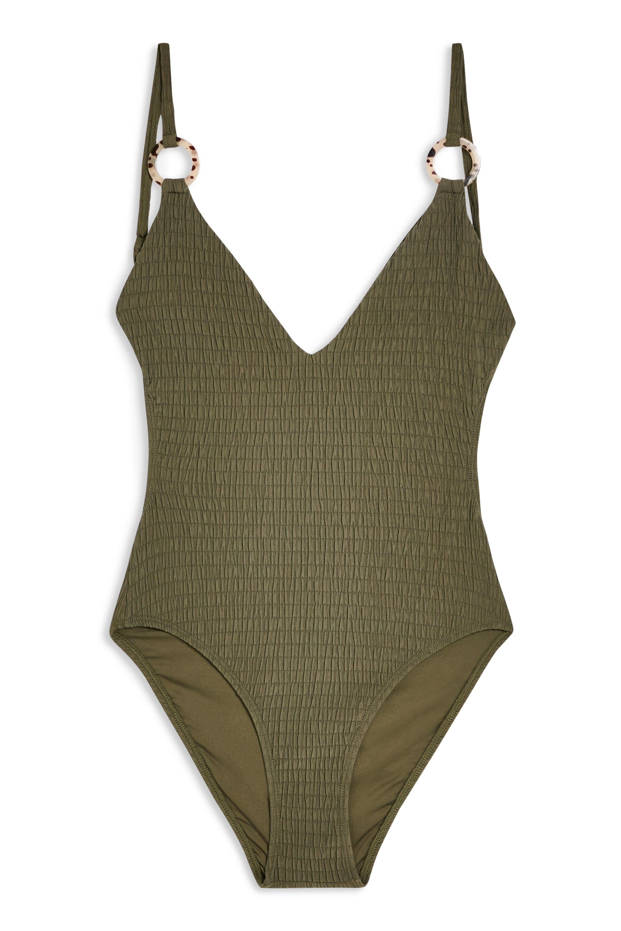 Plunge One-Piece Swimsuit,                             Alternate thumbnail 3, color,                             OLIVE