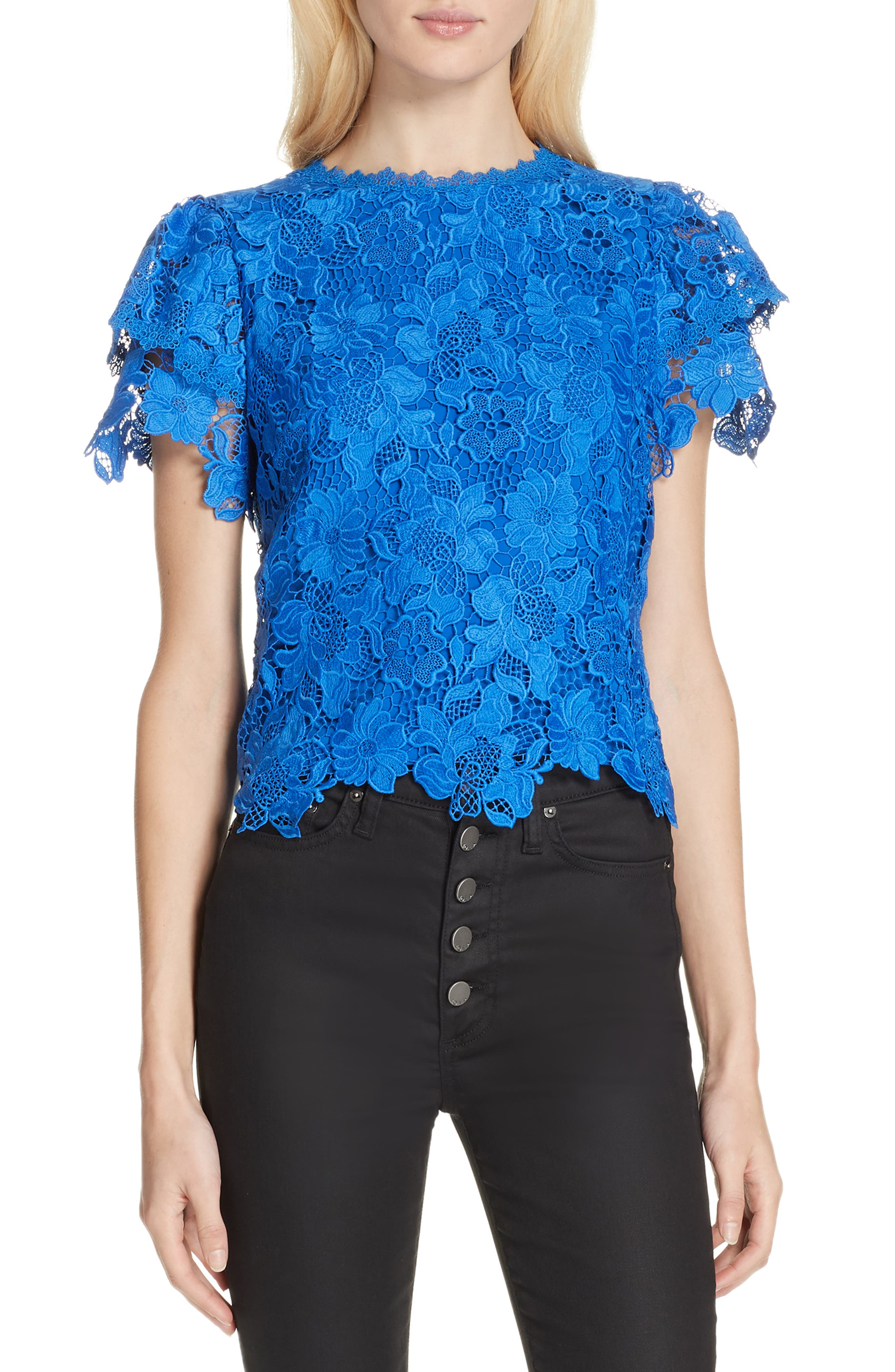 Glady Lace Crop Blouse by Alice + Olivia