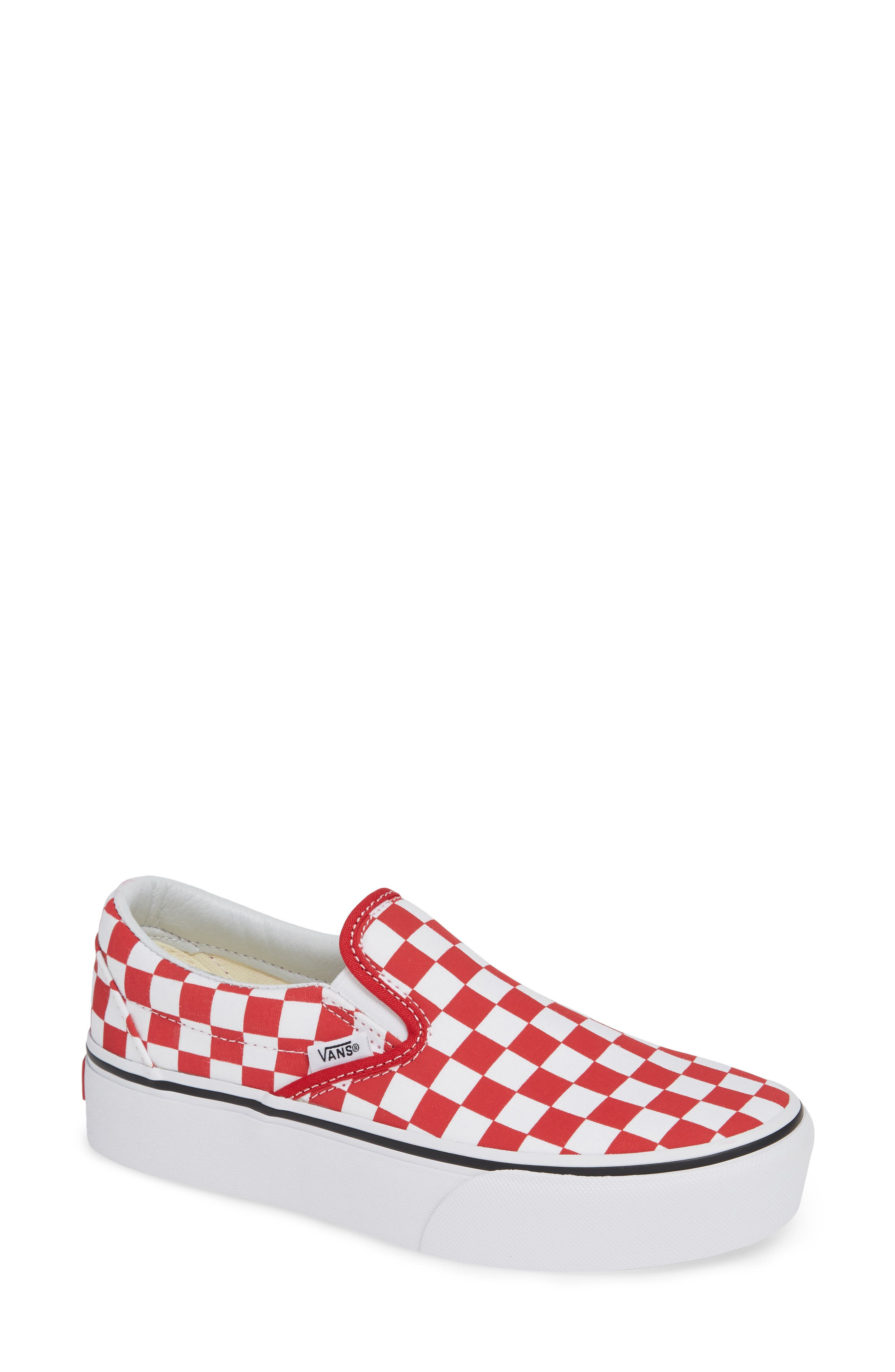 Platform Slip-On Sneaker,                         Main,                         color, RACING RED/ TRUE WHITE