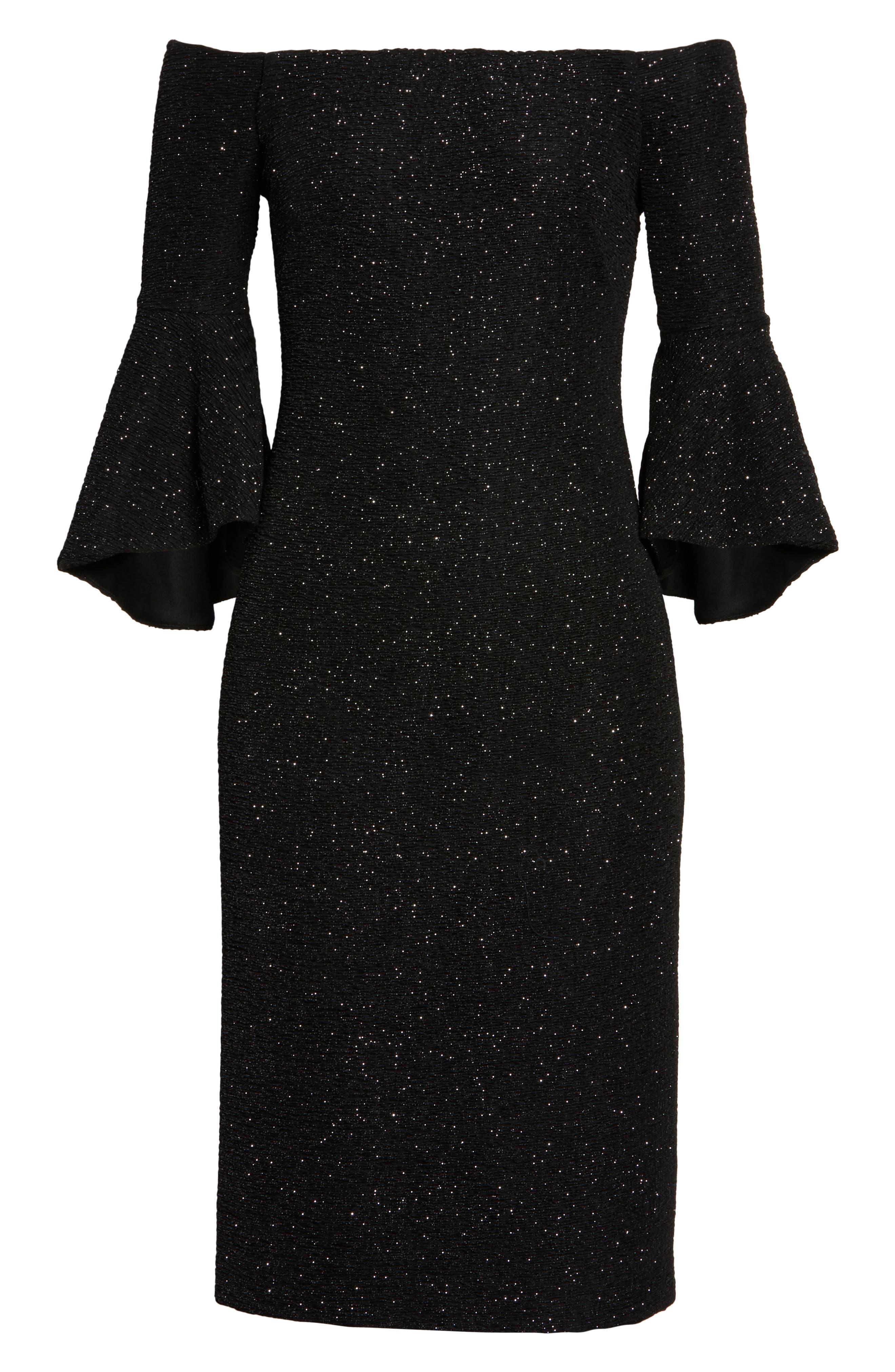 Off the Shoulder Bell Sleeve Sheath Dress,                             Alternate thumbnail 6, color,                             046