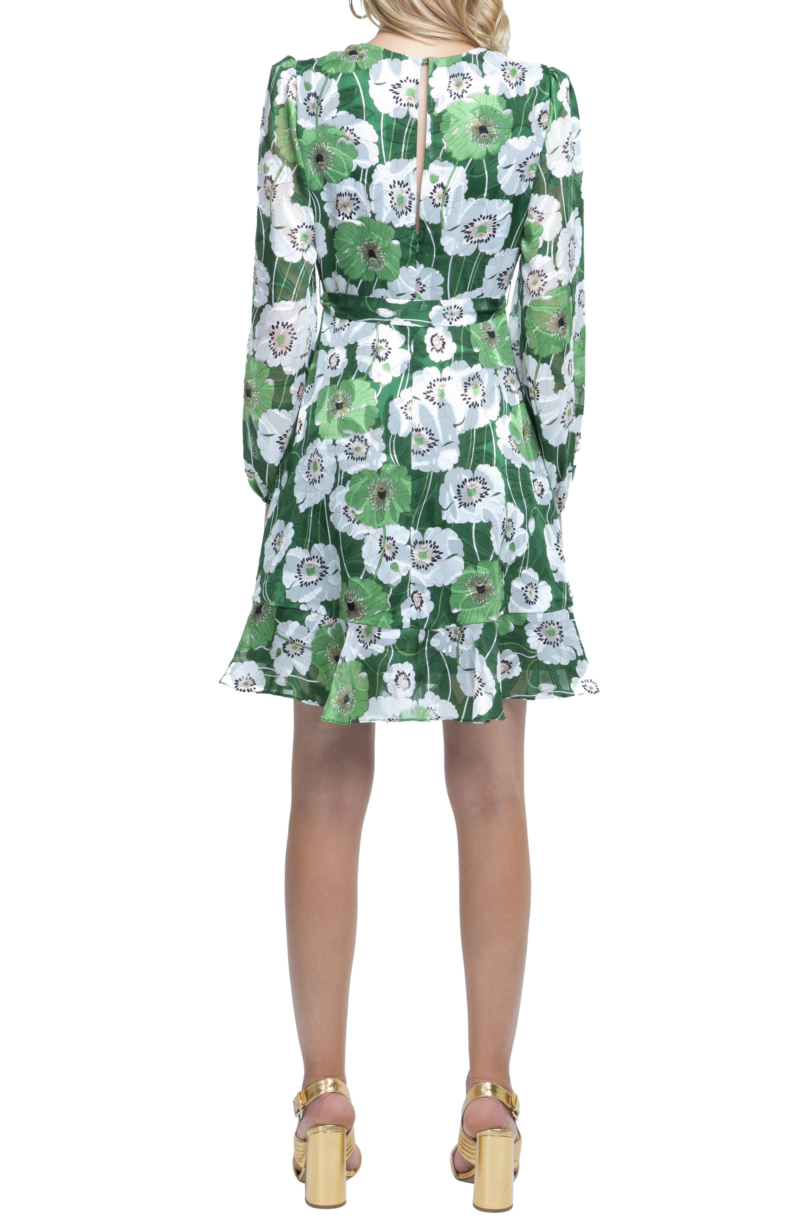 Ruffle Front Dress,                             Alternate thumbnail 2, color,                             GREEN FLORAL