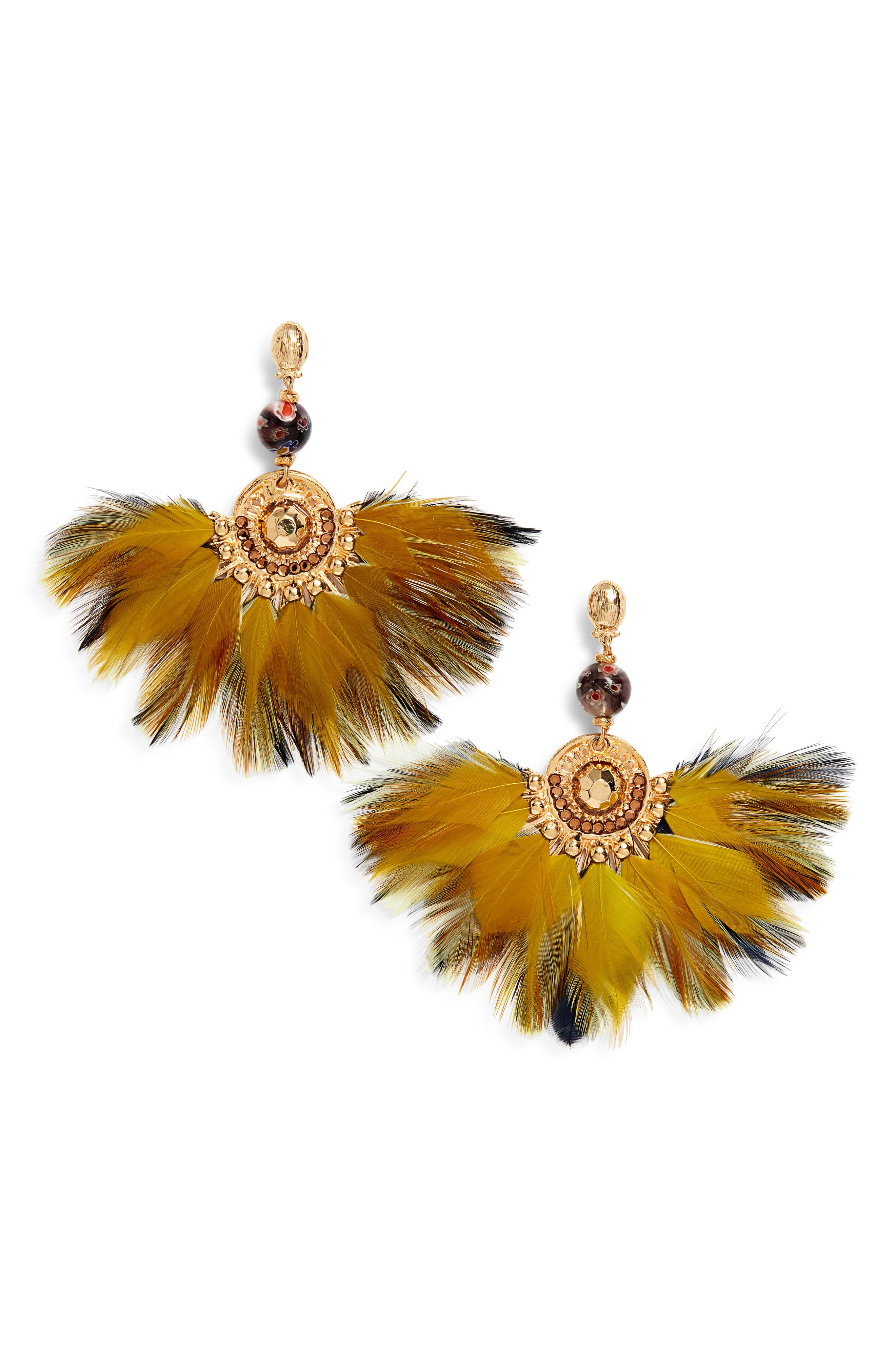 Gaia Feather Drop Earrings,                         Main,                         color, YELLOW