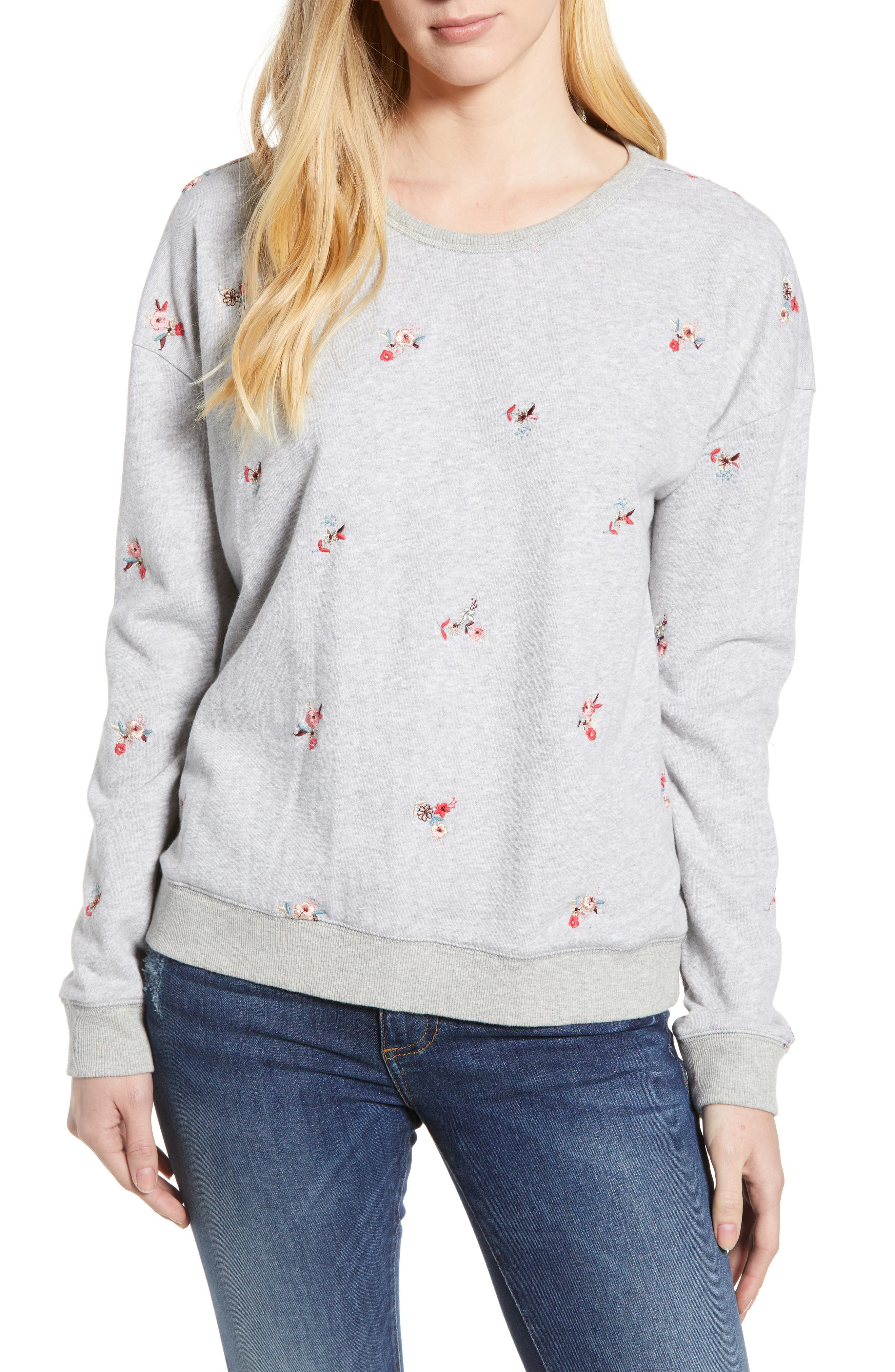 Embroidered Flowers Sweatshirt,                         Main,                         color, 030