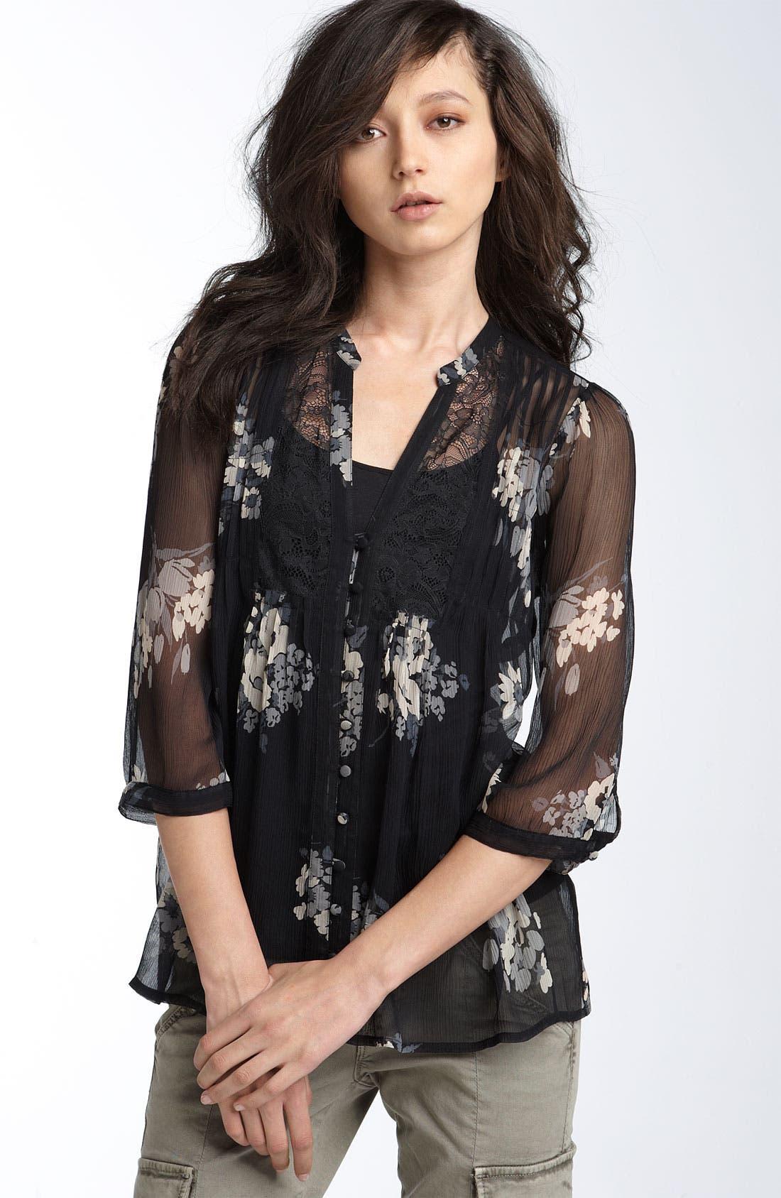 JOIE 'Leanne' Lace Inset Chiffon Top, Main, color, 002