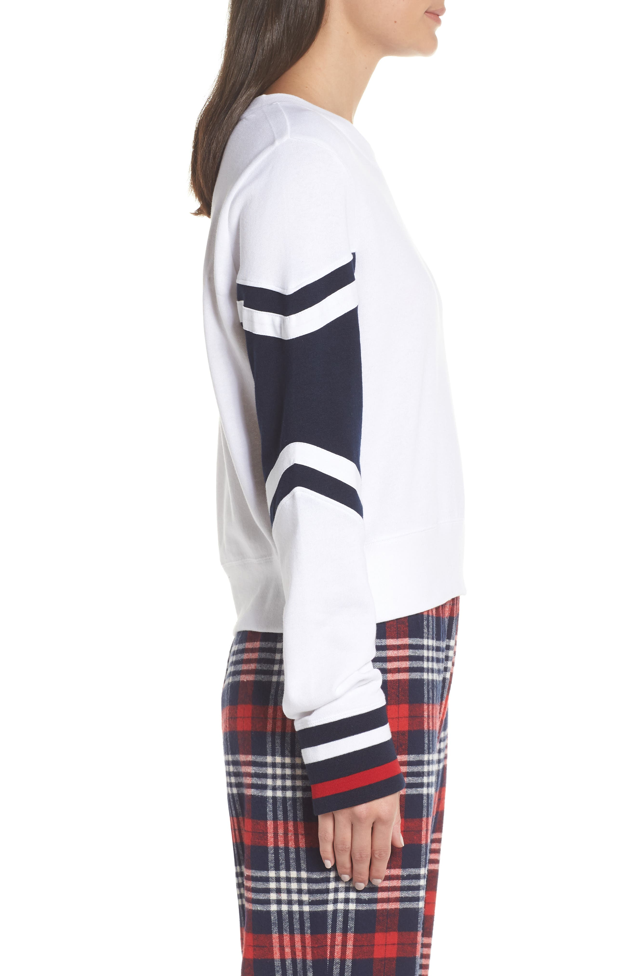 Cropped Lounge Pullover,                             Alternate thumbnail 3, color,                             BRIGHT WHITE