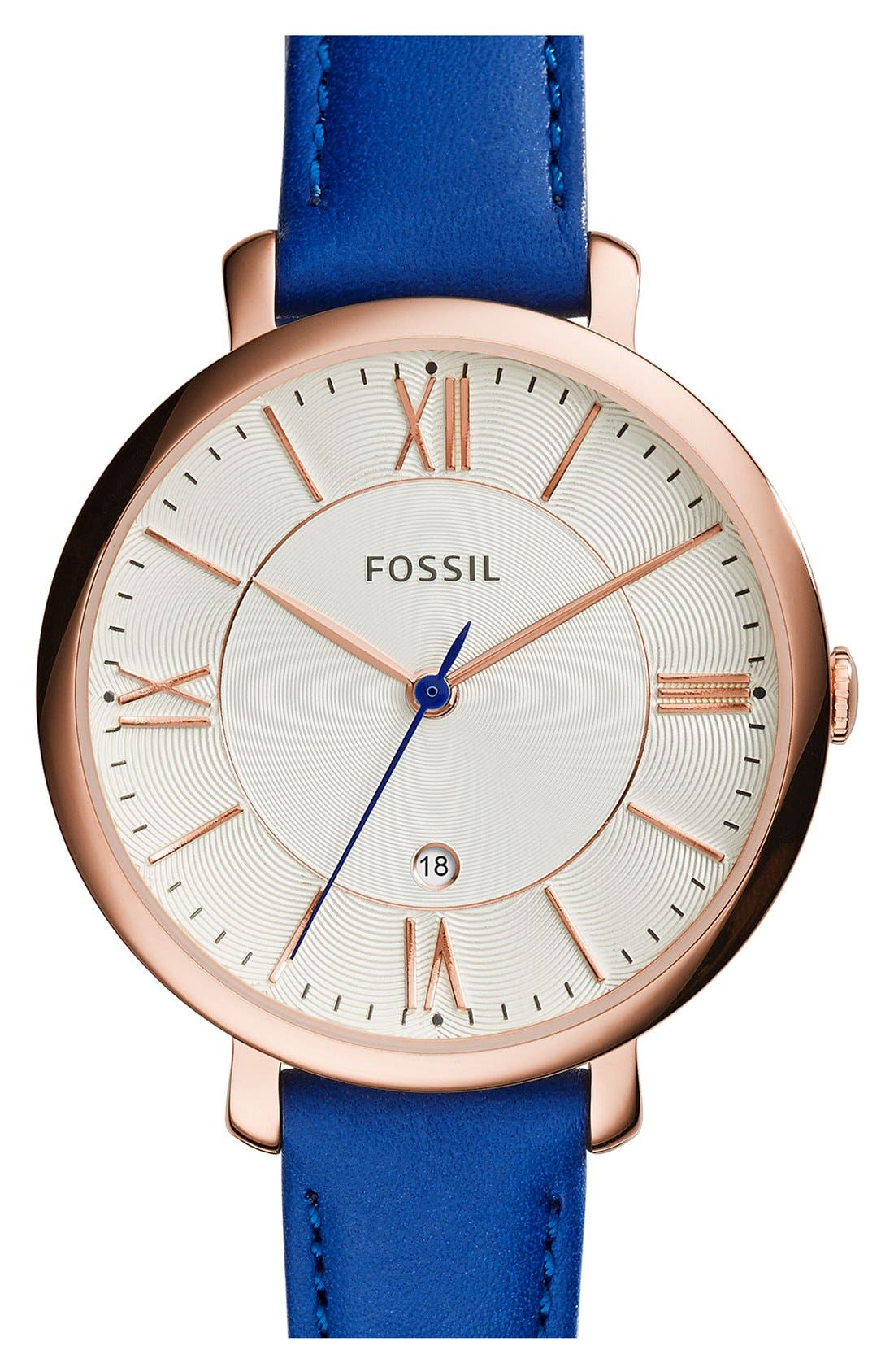'Jacqueline' Round Leather Strap Watch, 36mm,                             Main thumbnail 14, color,