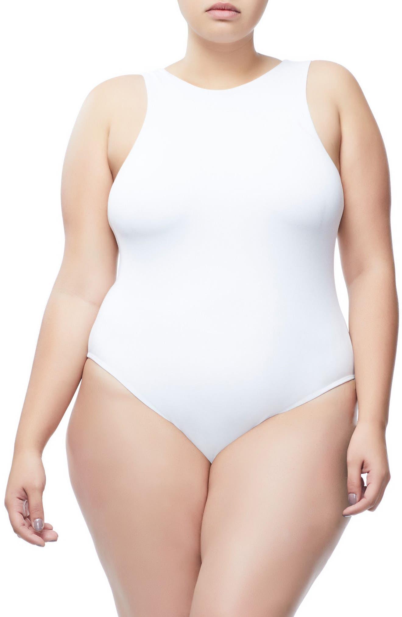 Good Body Muscle Crew Bodysuit,                             Alternate thumbnail 2, color,                             WHITE